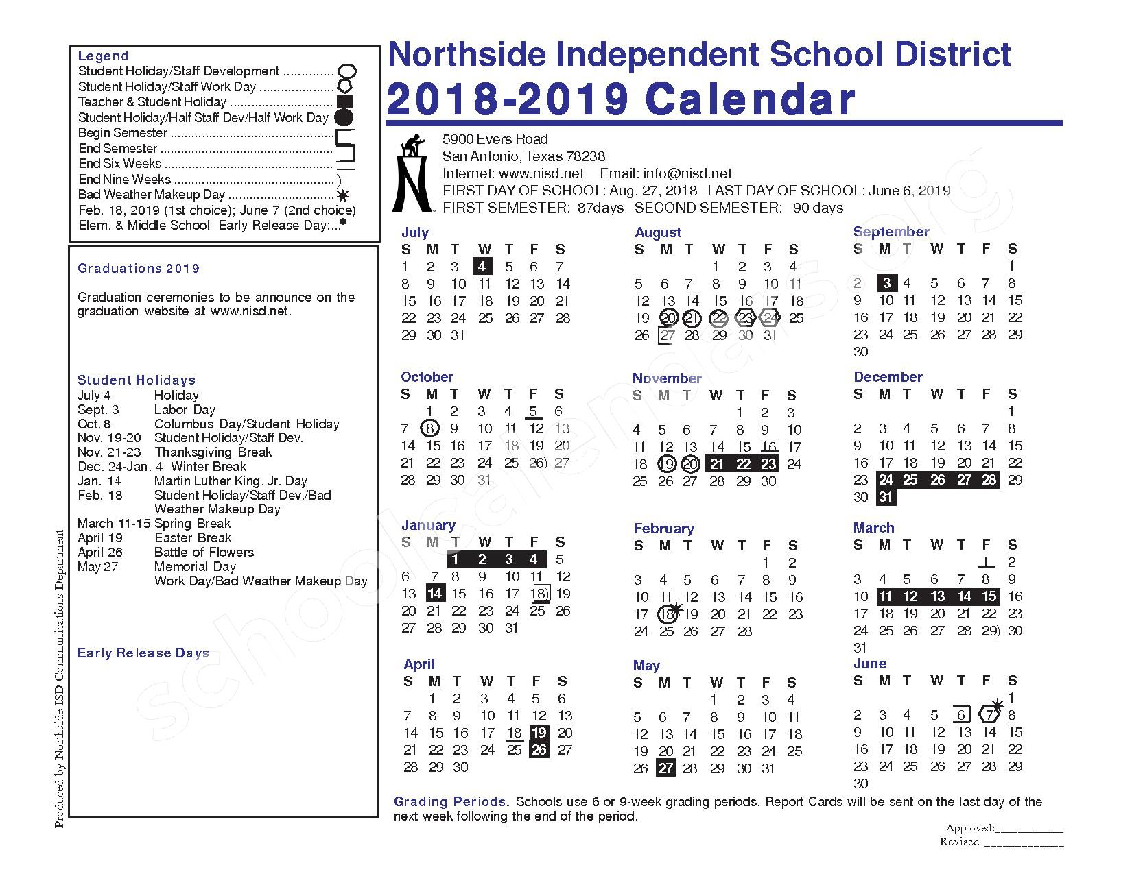2018 - 2019 District Calendar – Valley Hi Elementary School – page 1