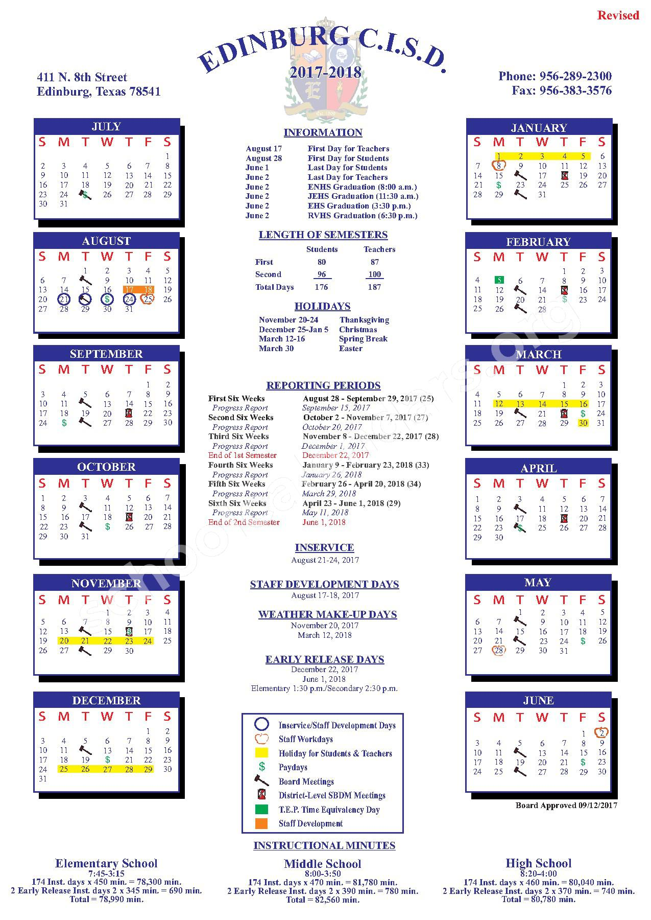 2017 - 2018 District Calendar – John F Kennedy Elementary School – page 1