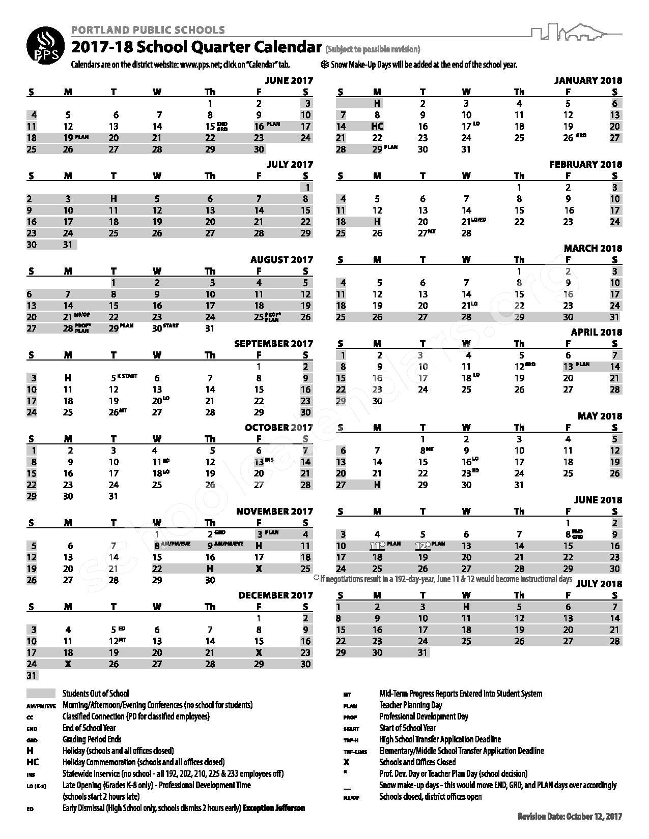 2017 - 2018 School Quarter Calendar – Portland Public Schools – page 1
