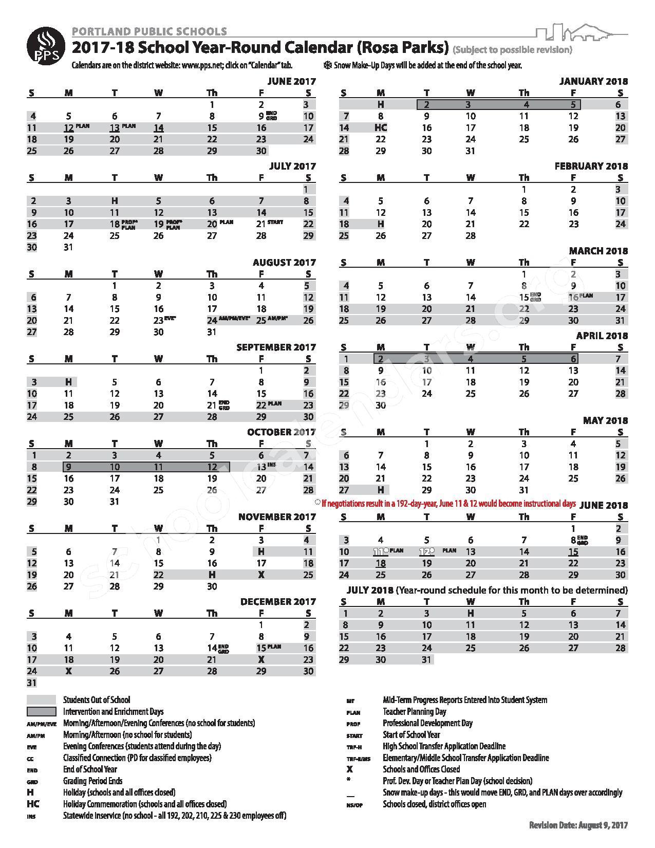 2017 - 2018 Year-Round Calendar (Rosa Parks School) – Portland Public Schools – page 1