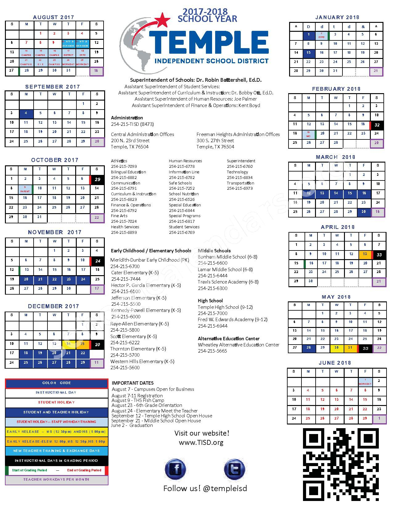 2017 - 2018 District Calendar – Temple Independent School District – page 1