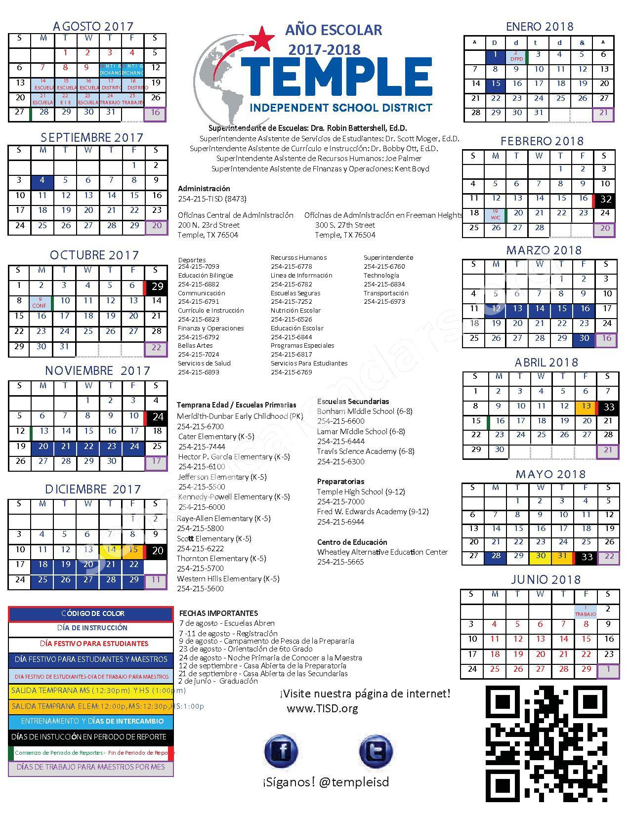 2017 - 2018 TISD Calendario Escolar – Temple Independent School District – page 1