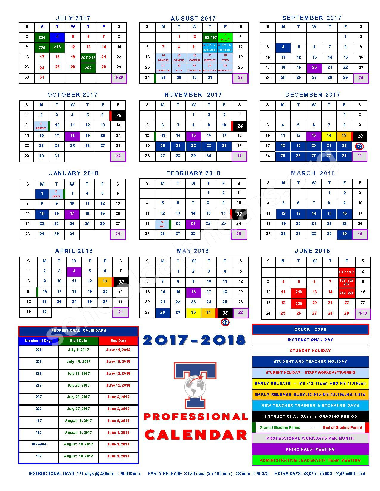 2017 - 2018 TISD Professional Calendar – Temple Independent School District – page 1