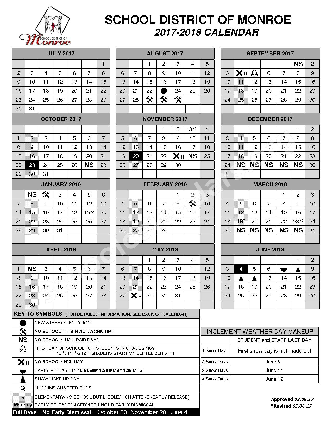 2017 - 2018 District Calendar – Monroe School District – page 1