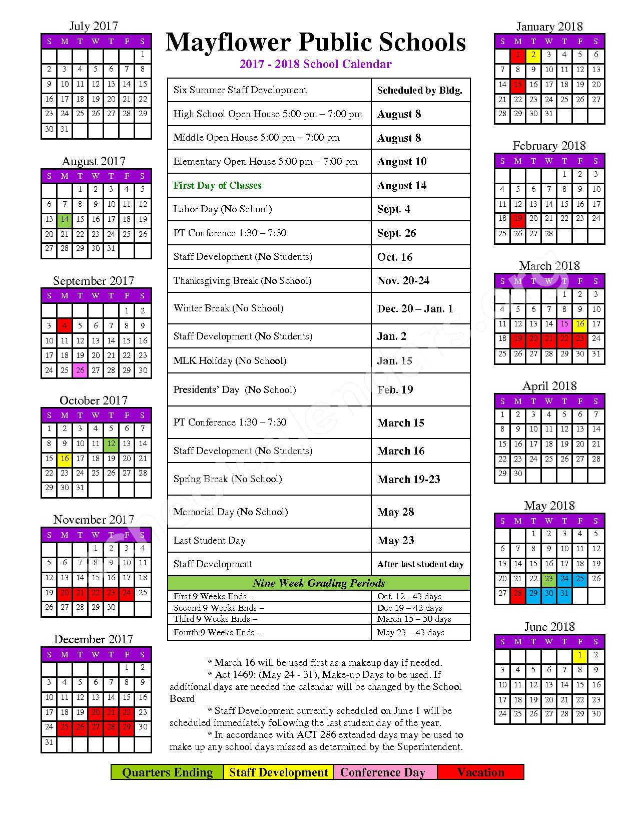 2017 - 2018 District Calendar – Mayflower School District – page 1