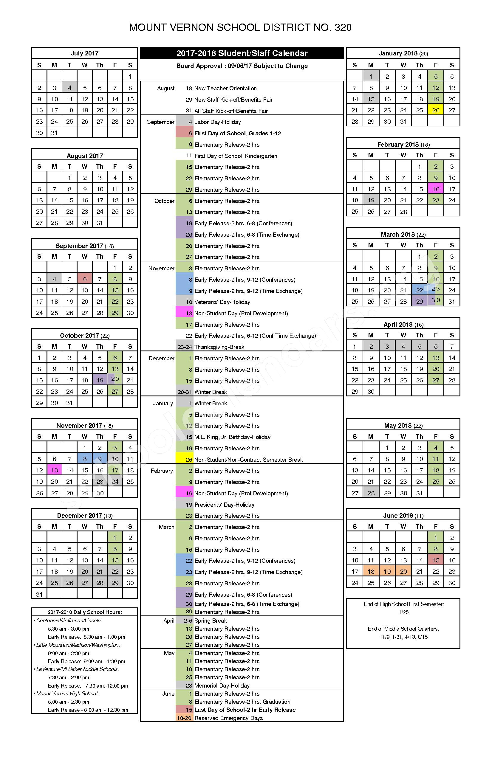 2017 - 2018 MVSD Student/Staff Calendar – Mount Vernon School District – page 1