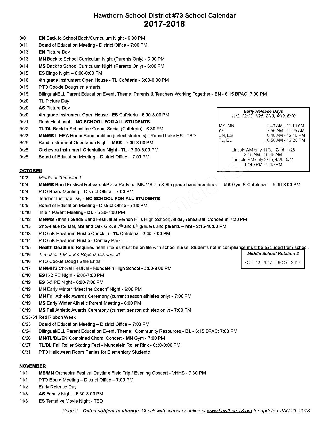 2017 - 2018 Detailed School Calendar – Hawthorn School District 73 – page 2