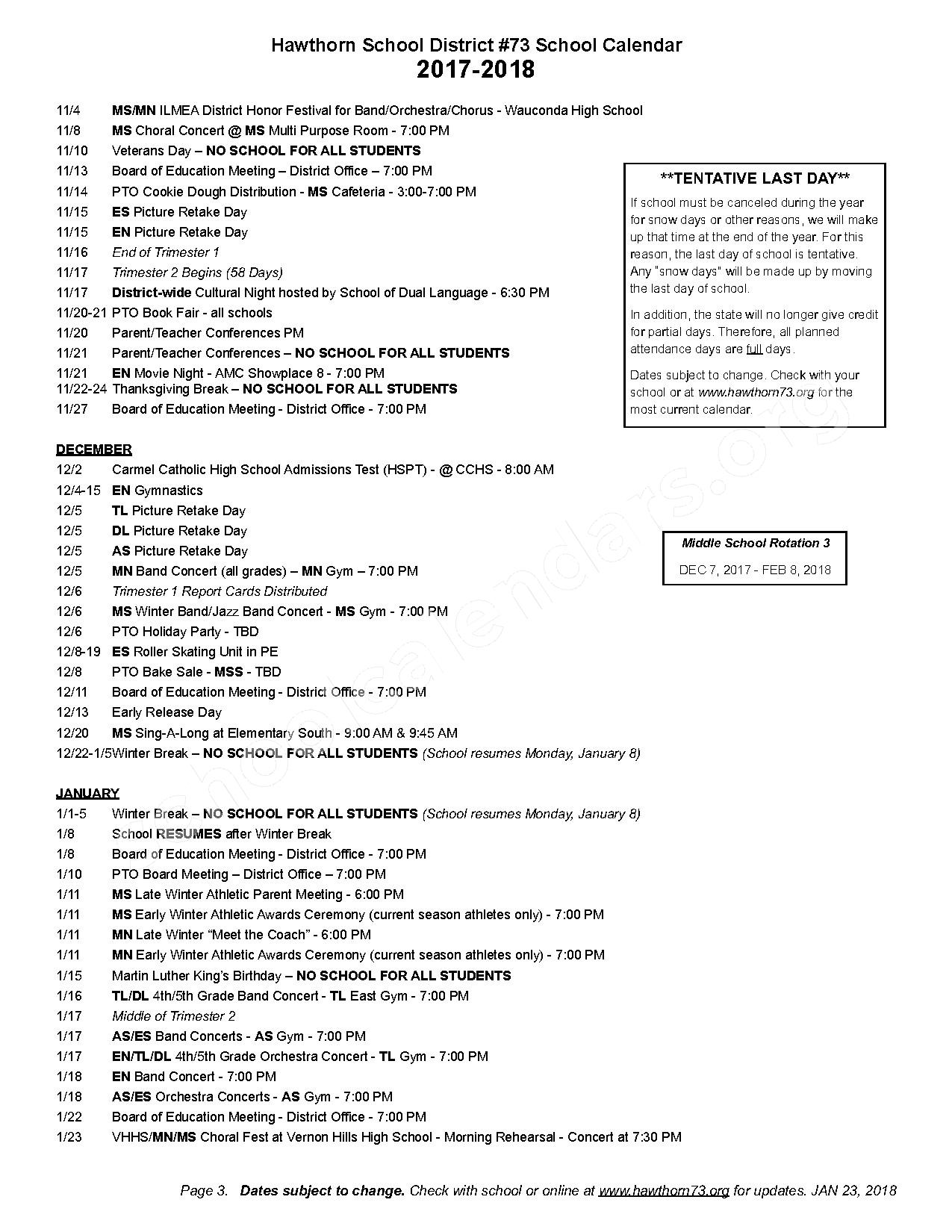 2017 - 2018 Detailed School Calendar – Hawthorn School District 73 – page 3