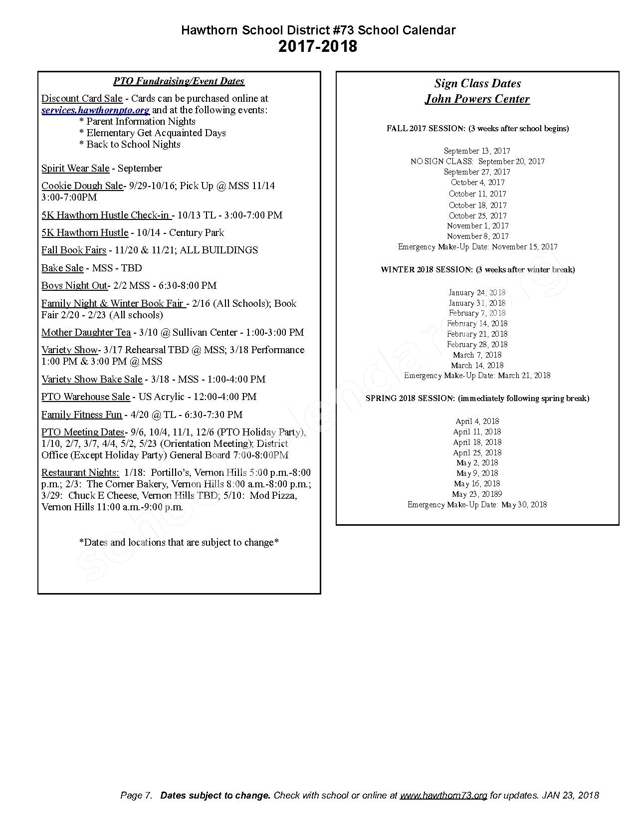 2017 - 2018 Detailed School Calendar – Hawthorn School District 73 – page 7
