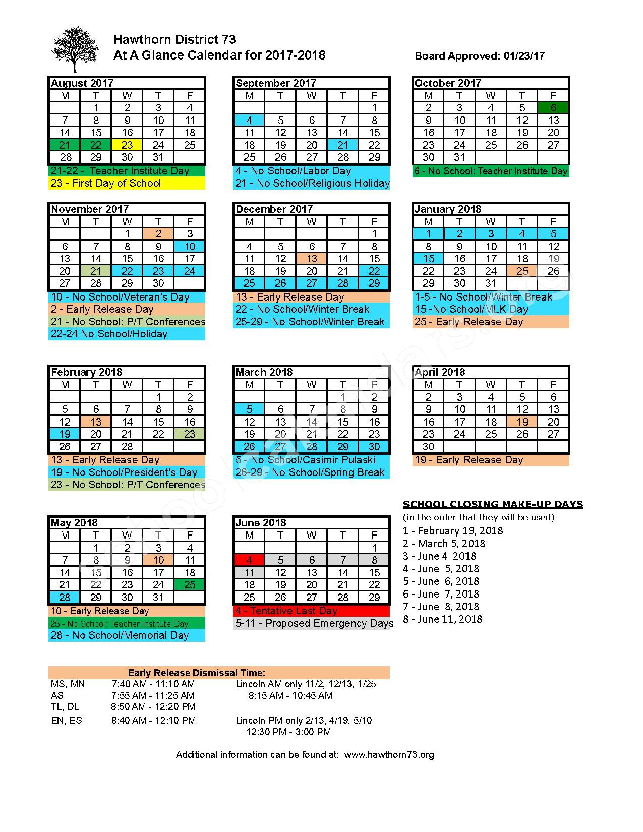2017 - 2018 School Calendar – Hawthorn School District 73 – page 1