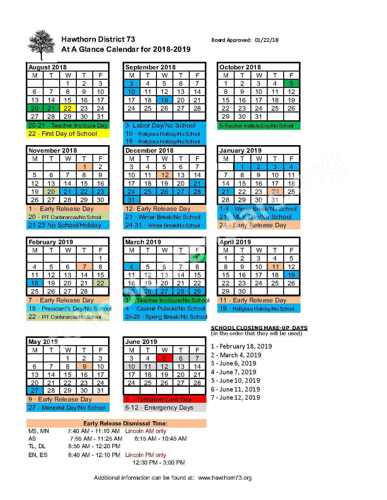 2018 - 2019 School Calendar – Hawthorn School District 73 – page 1