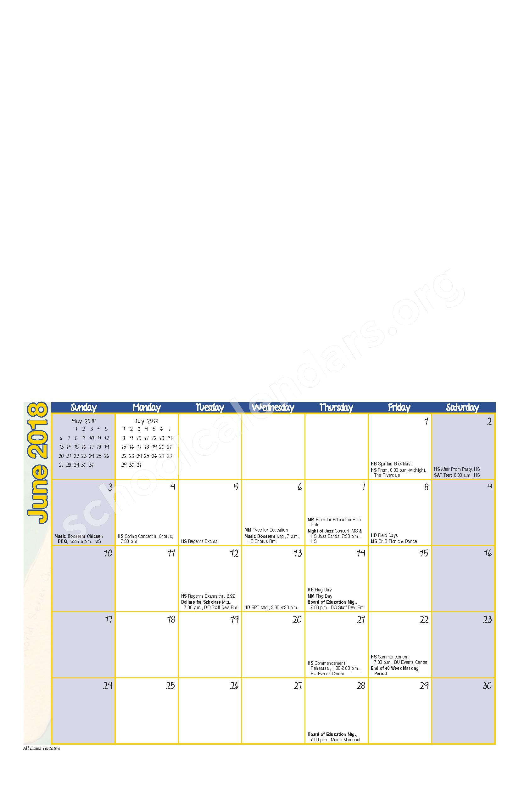 2017 - 2018 District Calendar – Maine-Endwell Central School District – page 10