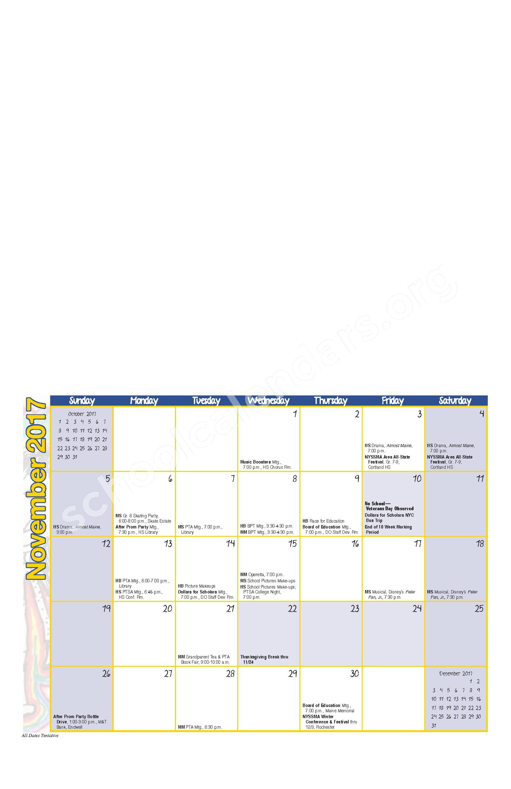 2017 - 2018 District Calendar – Maine-Endwell Central School District – page 3