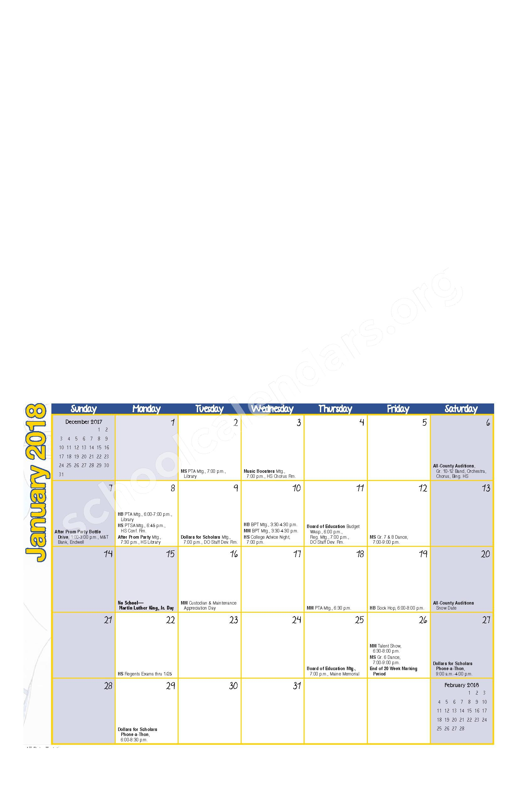 2017 - 2018 District Calendar – Maine-Endwell Central School District – page 5