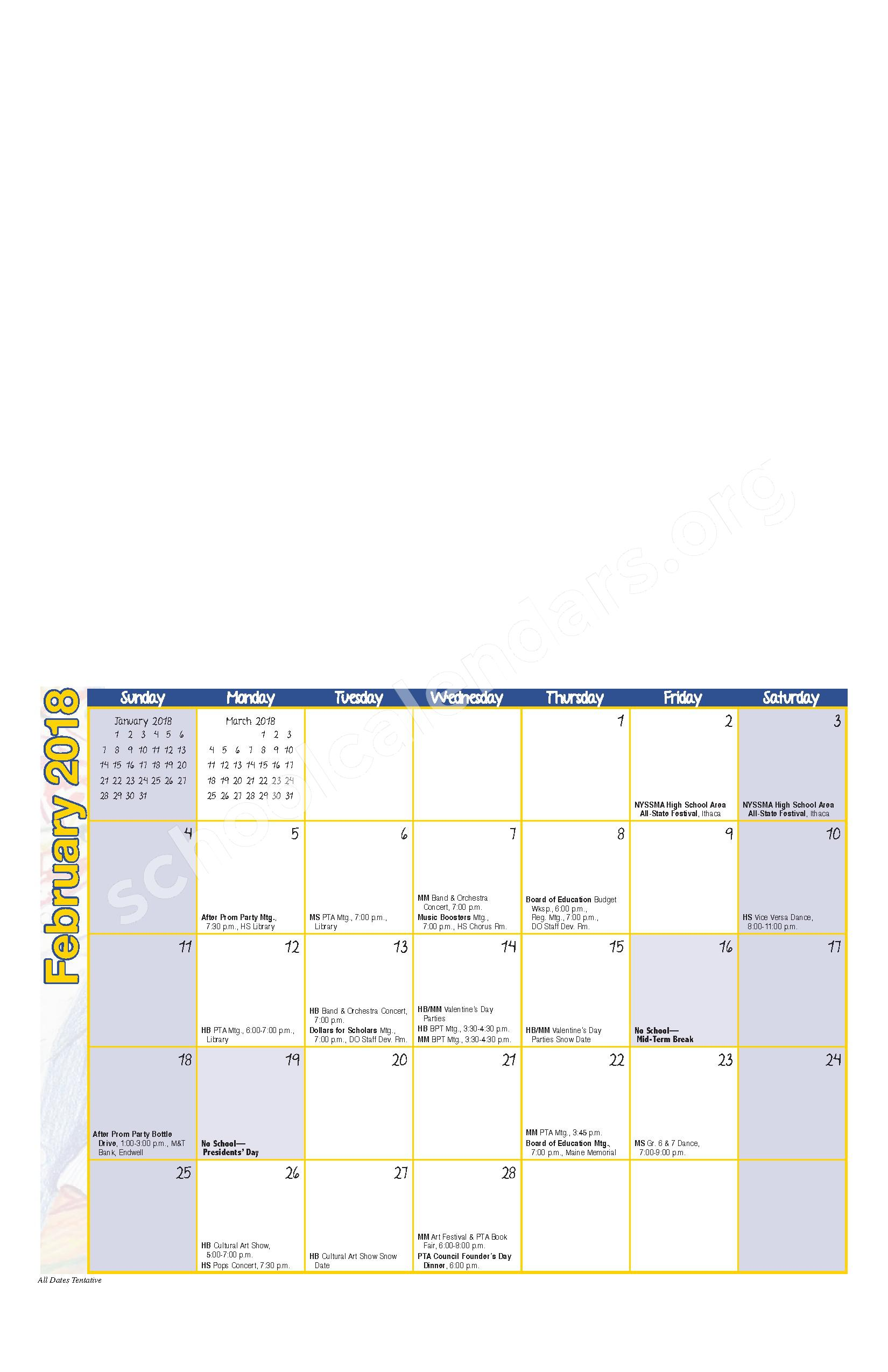 2017 - 2018 District Calendar – Maine-Endwell Central School District – page 6