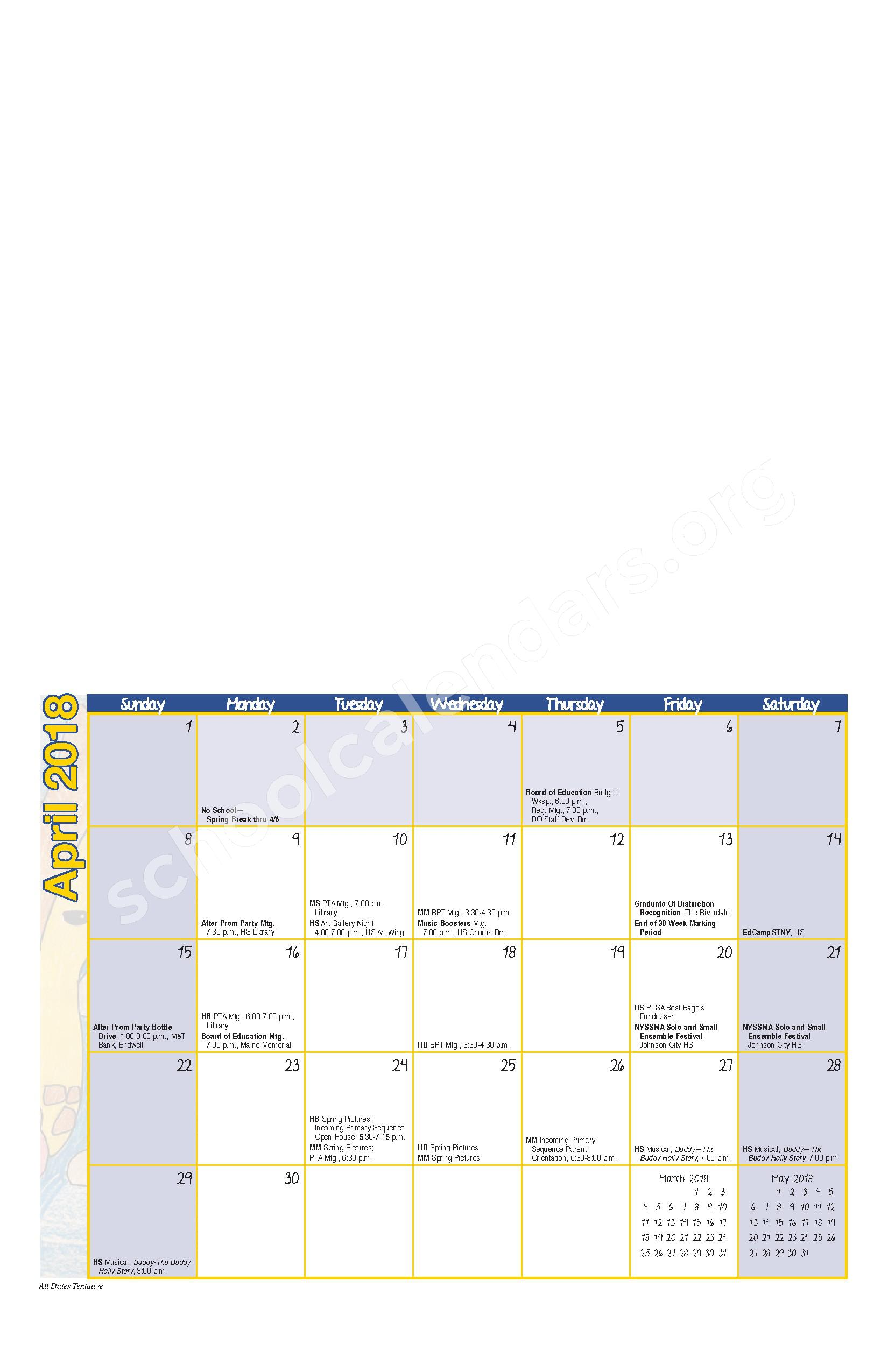 2017 - 2018 District Calendar – Maine-Endwell Central School District – page 8