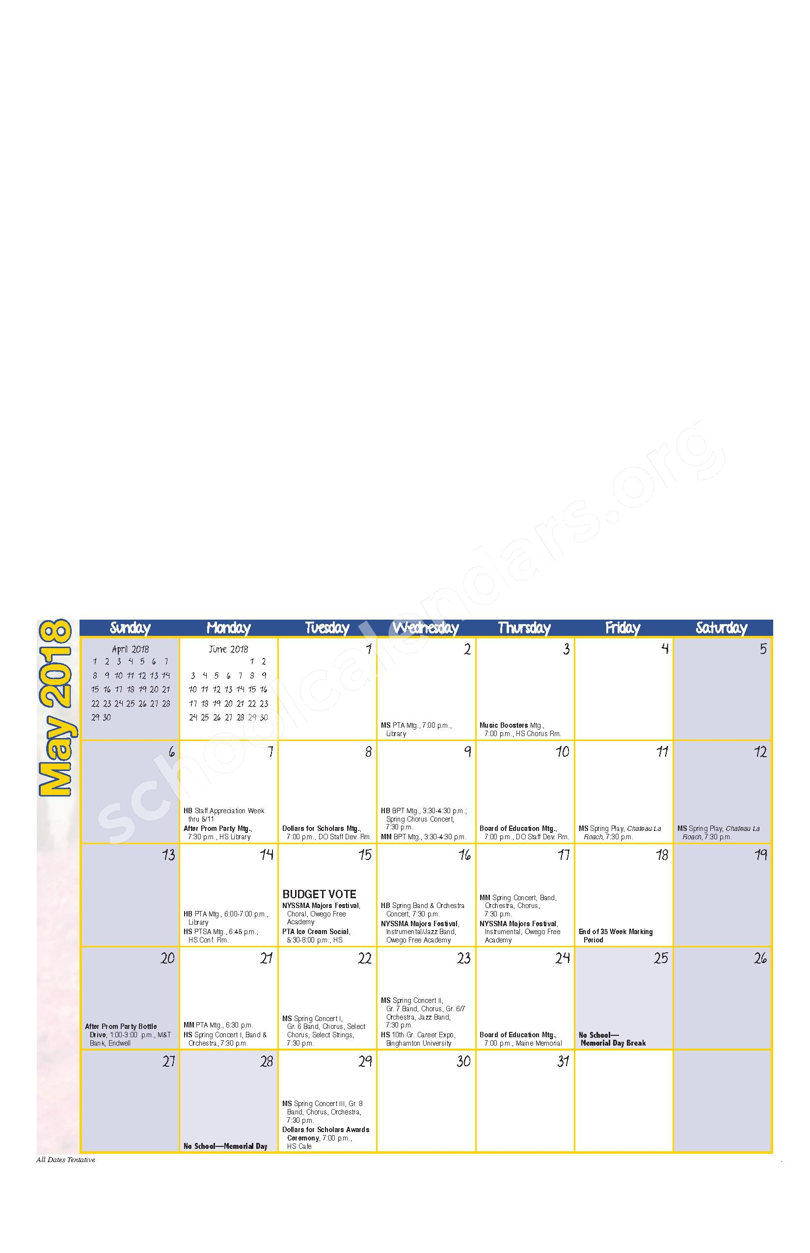 2017 - 2018 District Calendar – Maine-Endwell Central School District – page 9