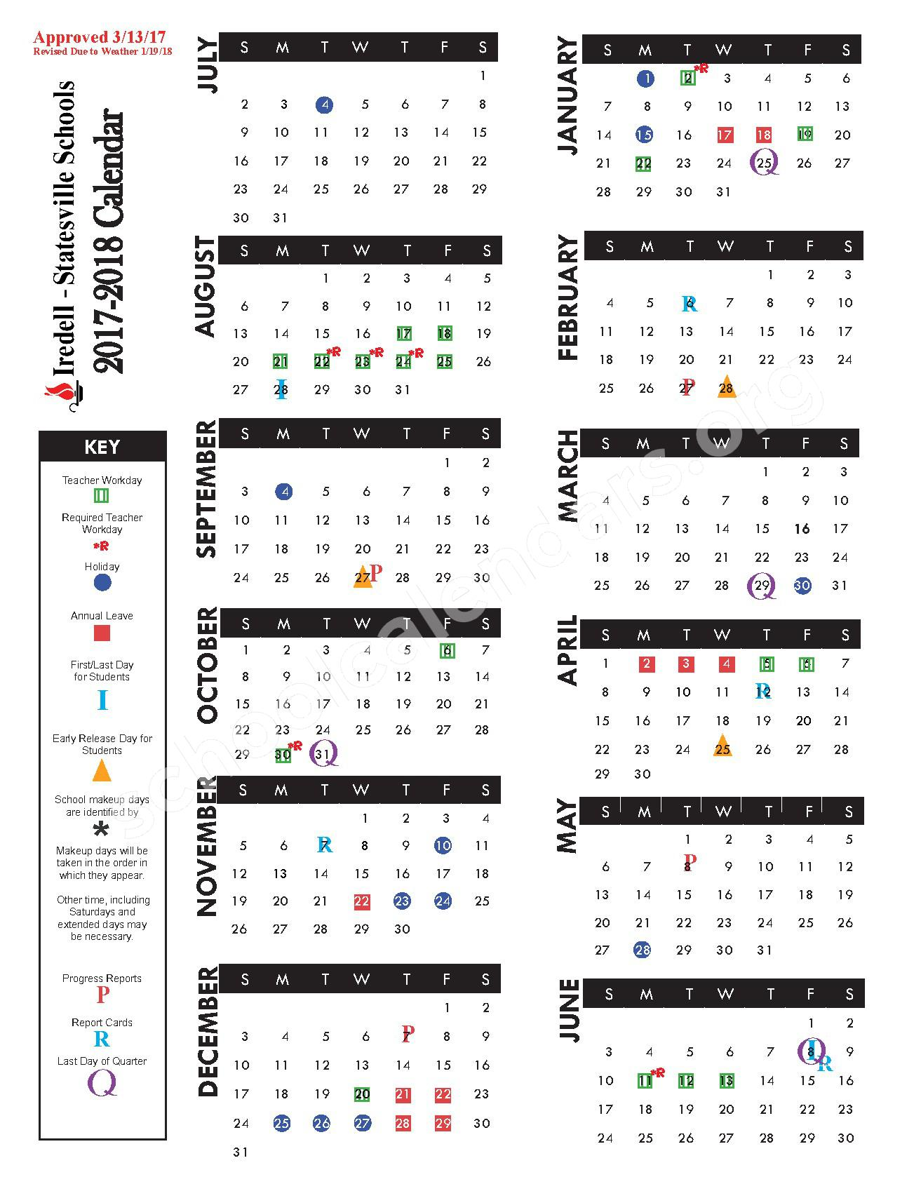2017 - 2018 Academic Calendar – Iredell-Statesville Schools – page 1