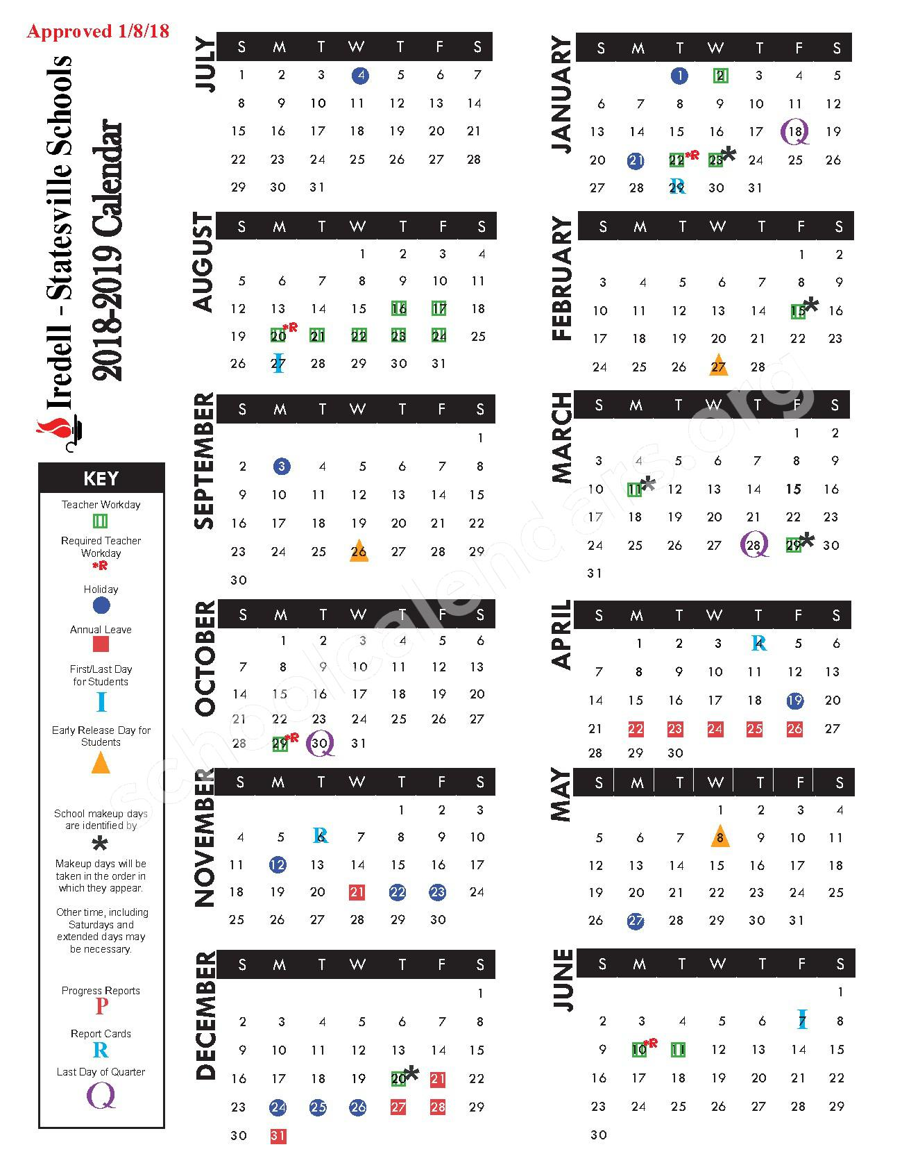 2018 - 2019 Academic Calendar – Iredell-Statesville Schools – page 1