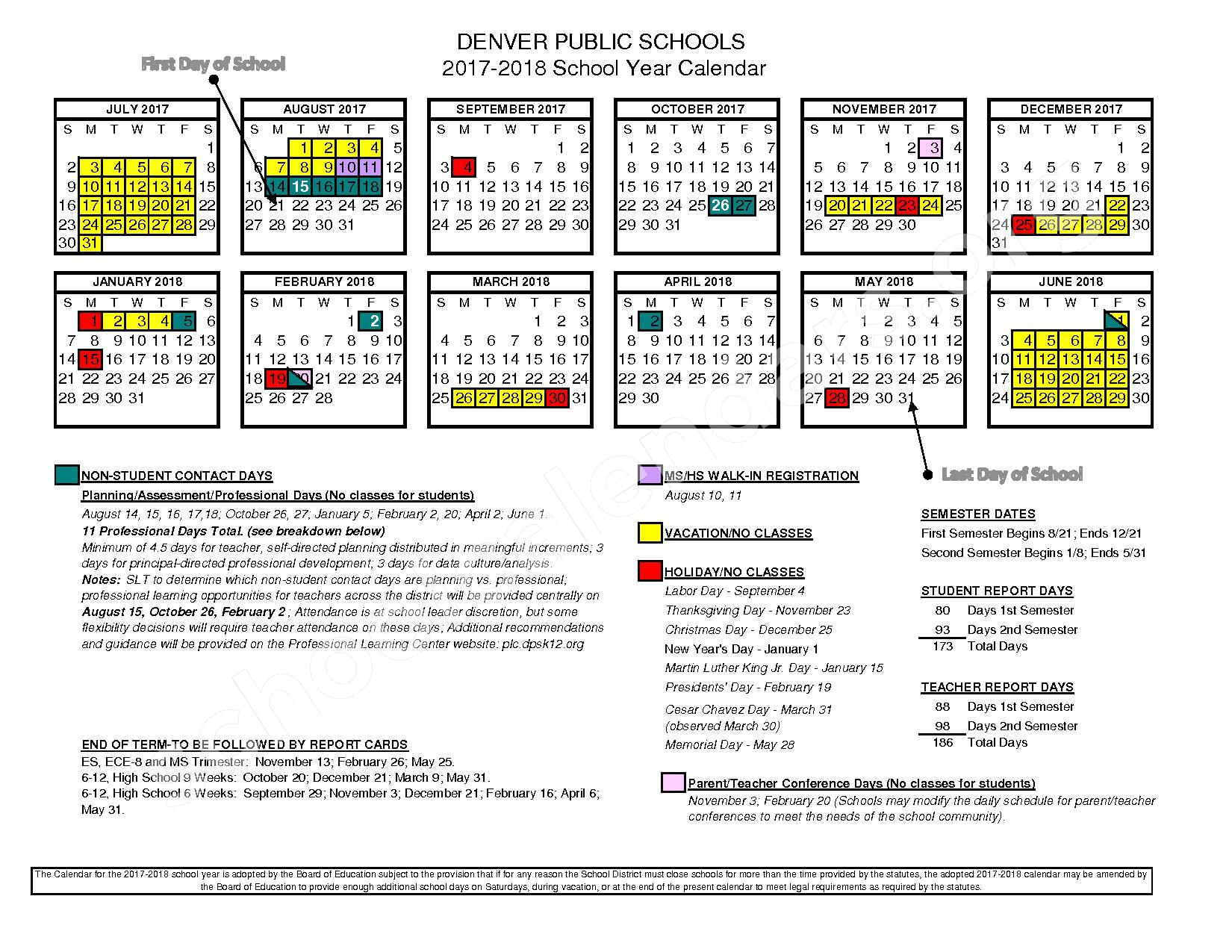 2017 - 2018 School Year Calendar – East High School – page 1