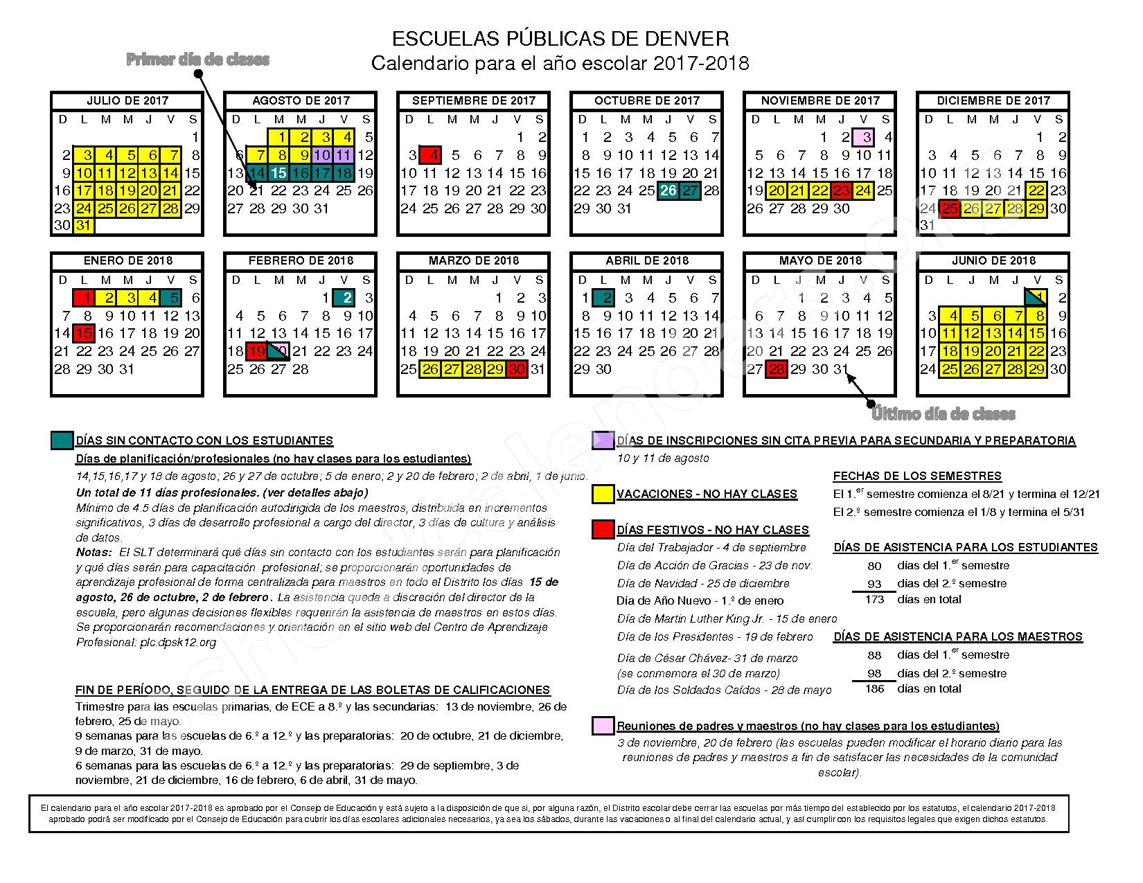 2017 - 2018 Calendario Escolar – East High School – page 1