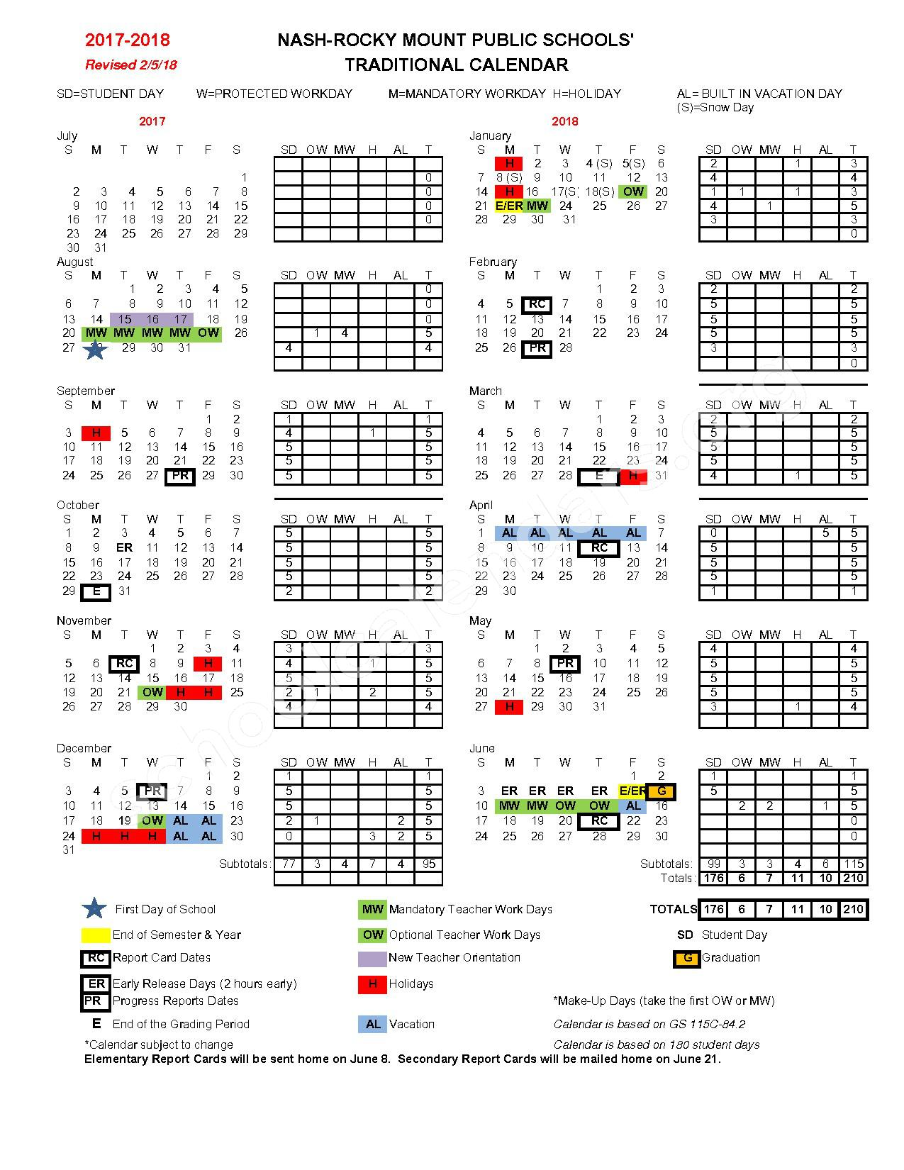 2017 - 2018 Revised Traditional Calendar – Nash-Rocky Mount Public Schools – page 1