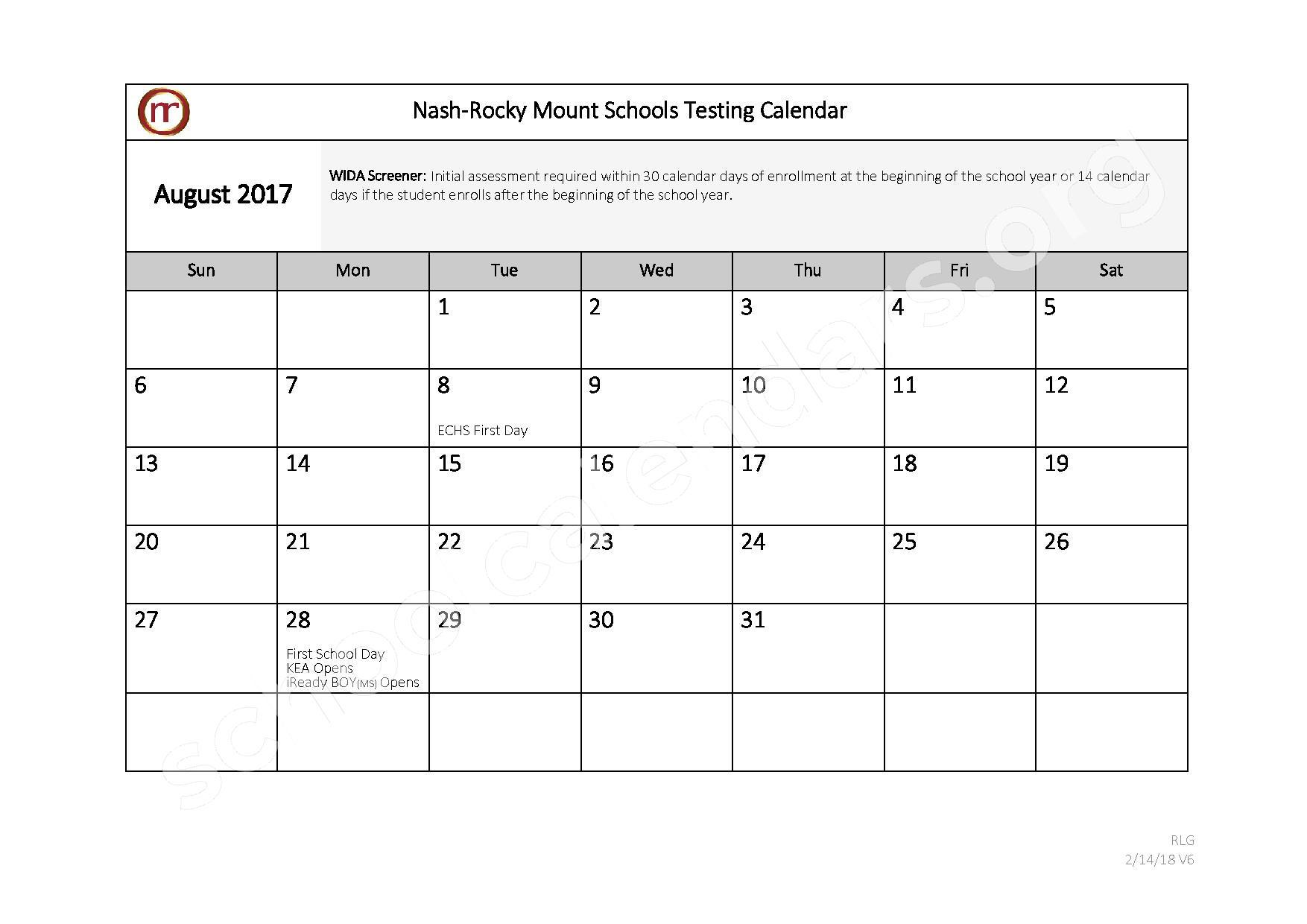2017 - 2018 Testing Calendar – Nash-Rocky Mount Public Schools – page 1