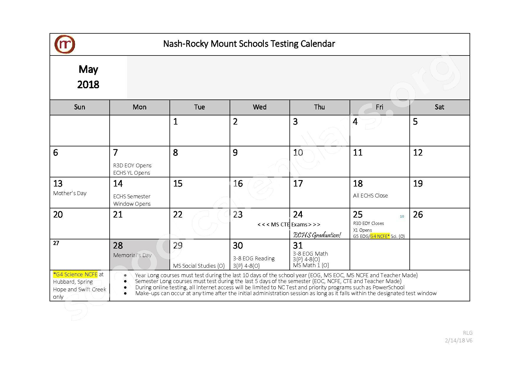 2017 - 2018 Testing Calendar – Nash-Rocky Mount Public Schools – page 10