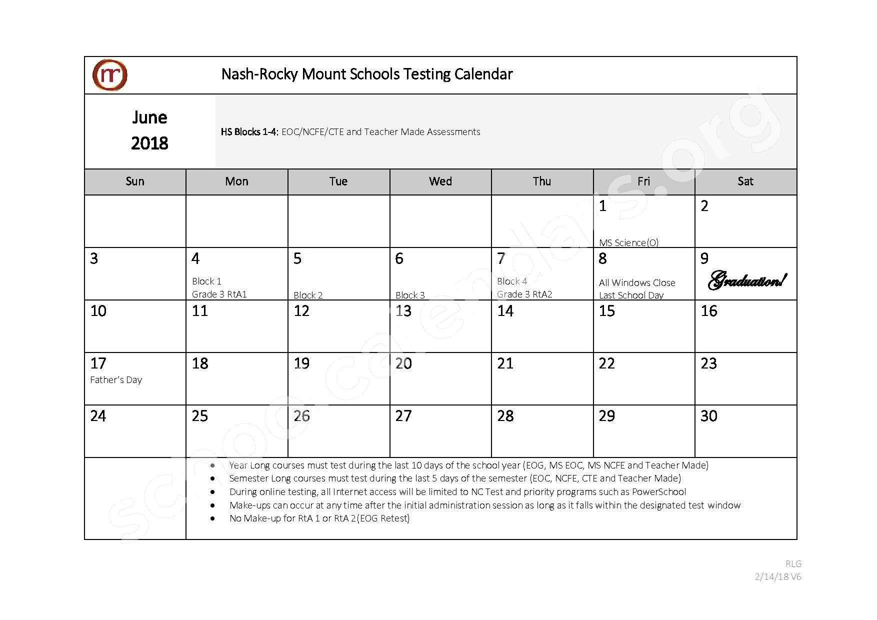 2017 - 2018 Testing Calendar – Nash-Rocky Mount Public Schools – page 11