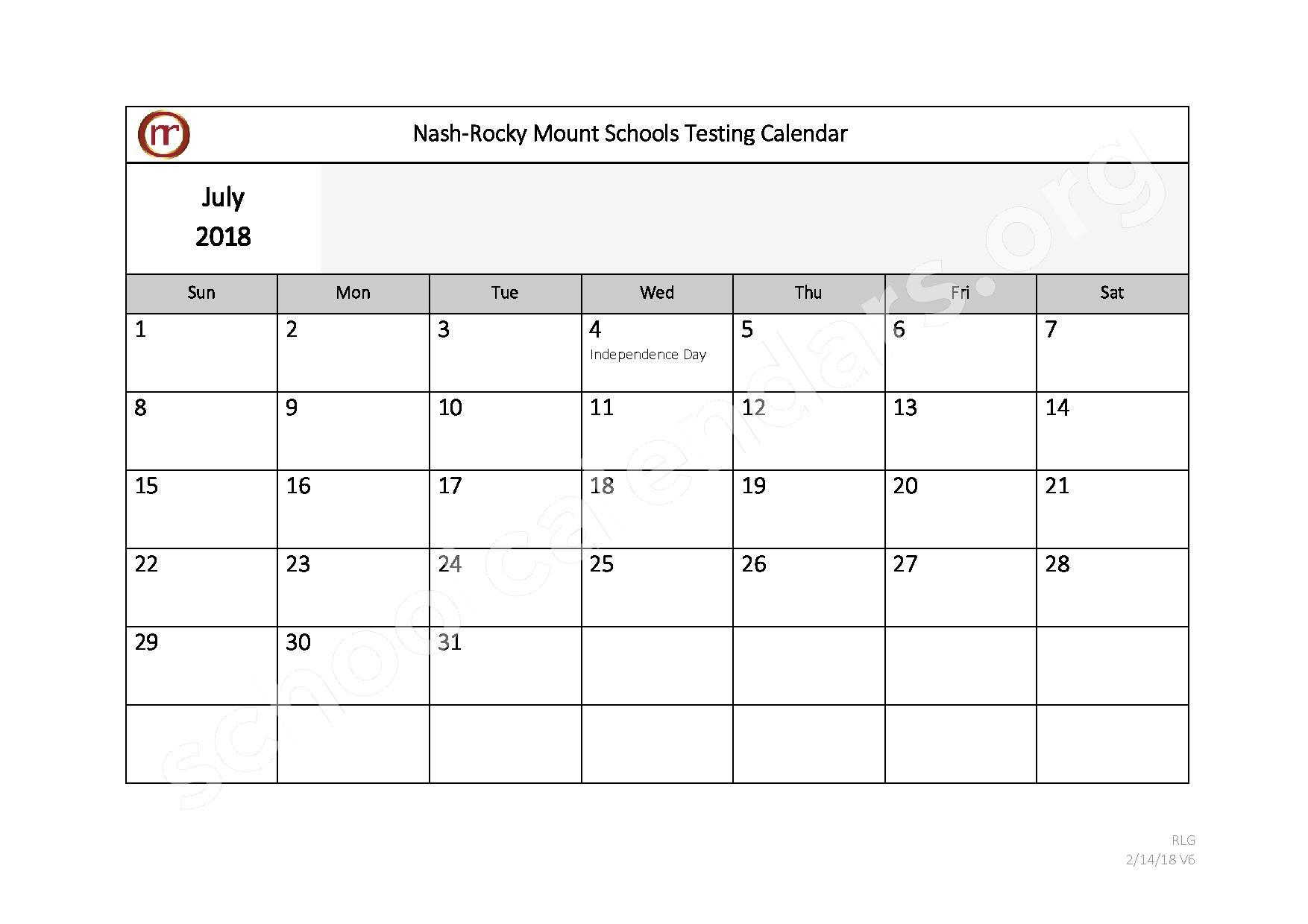 2017 - 2018 Testing Calendar – Nash-Rocky Mount Public Schools – page 12