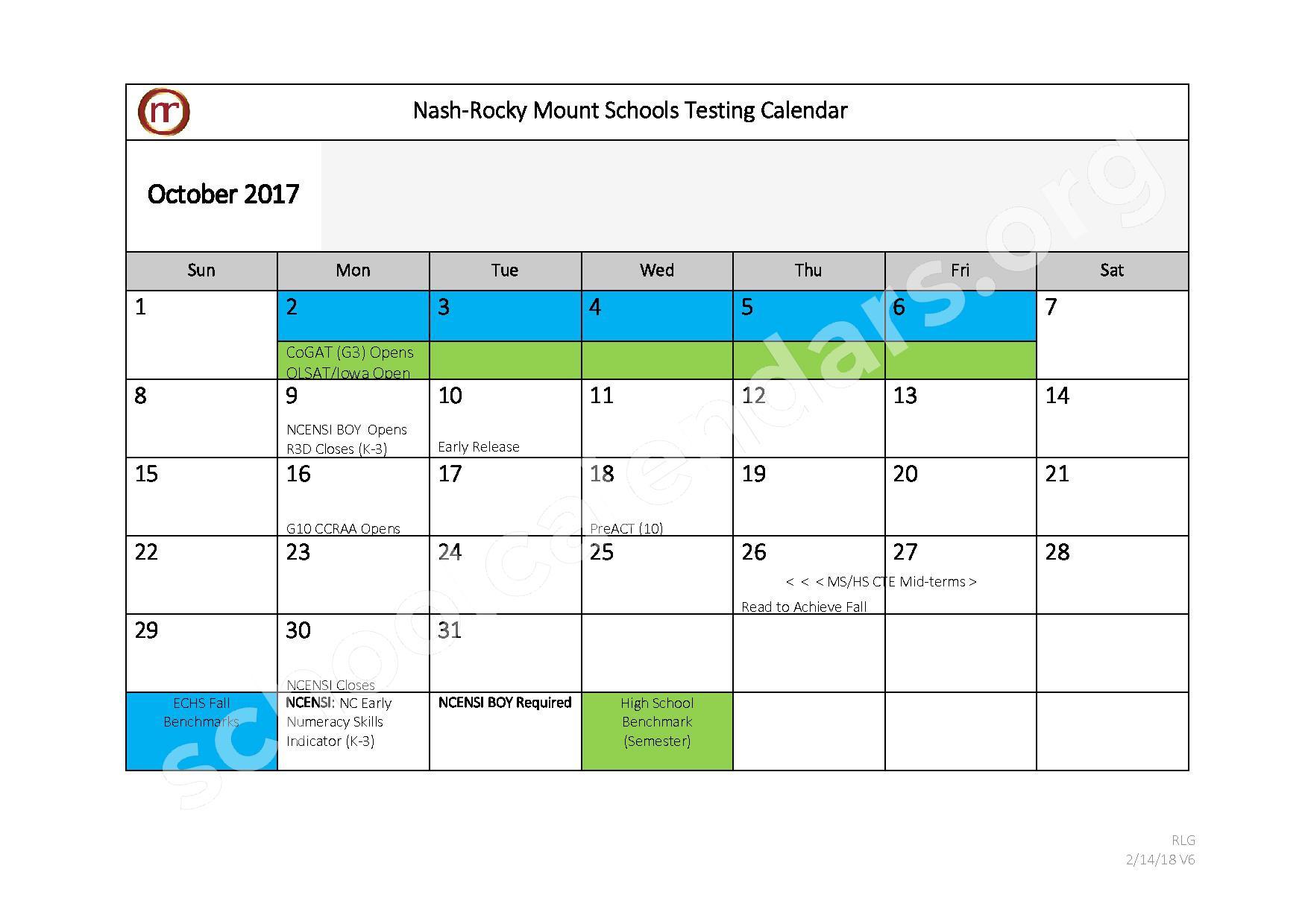 2017 - 2018 Testing Calendar – Nash-Rocky Mount Public Schools – page 3
