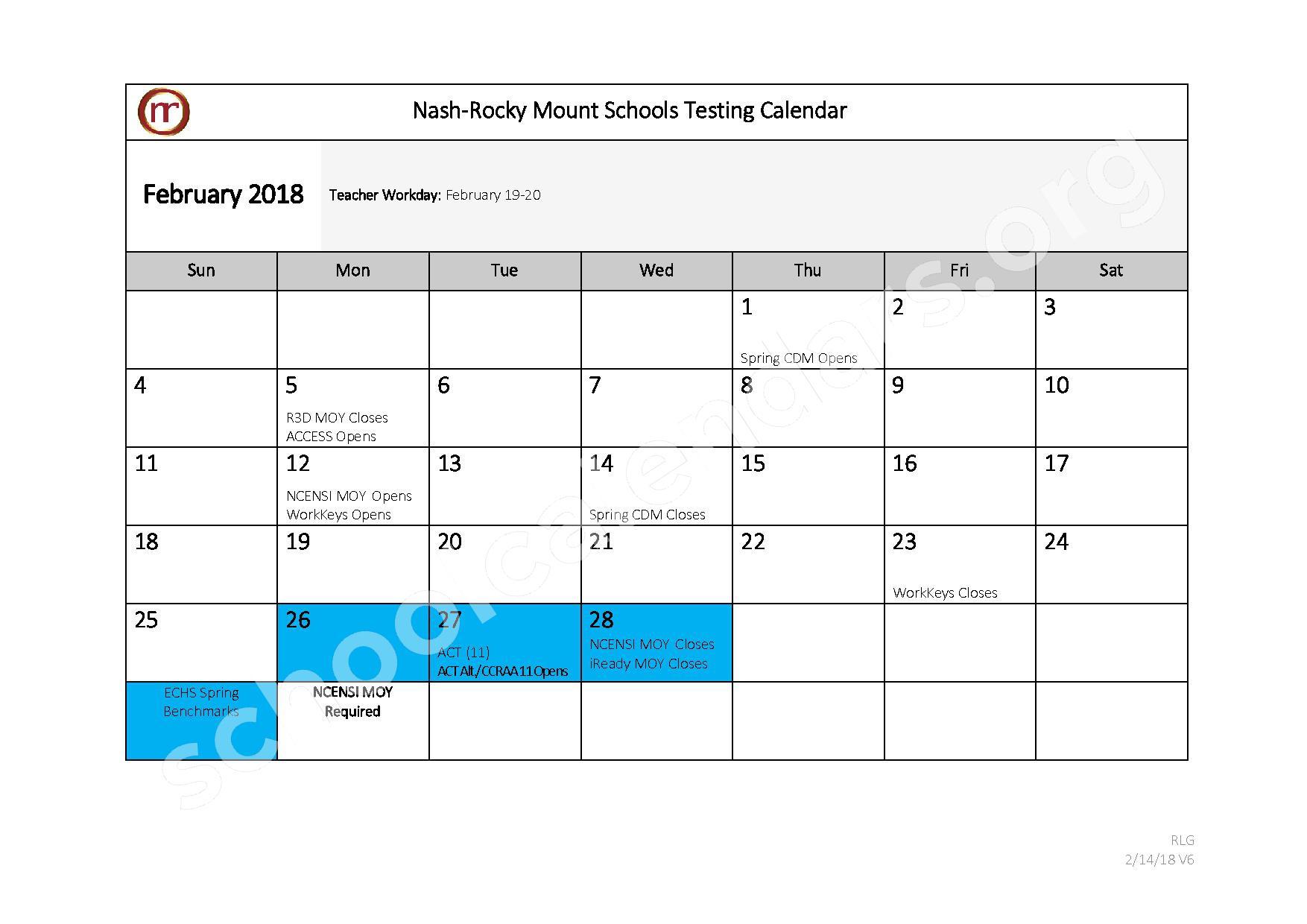2017 - 2018 Testing Calendar – Nash-Rocky Mount Public Schools – page 7