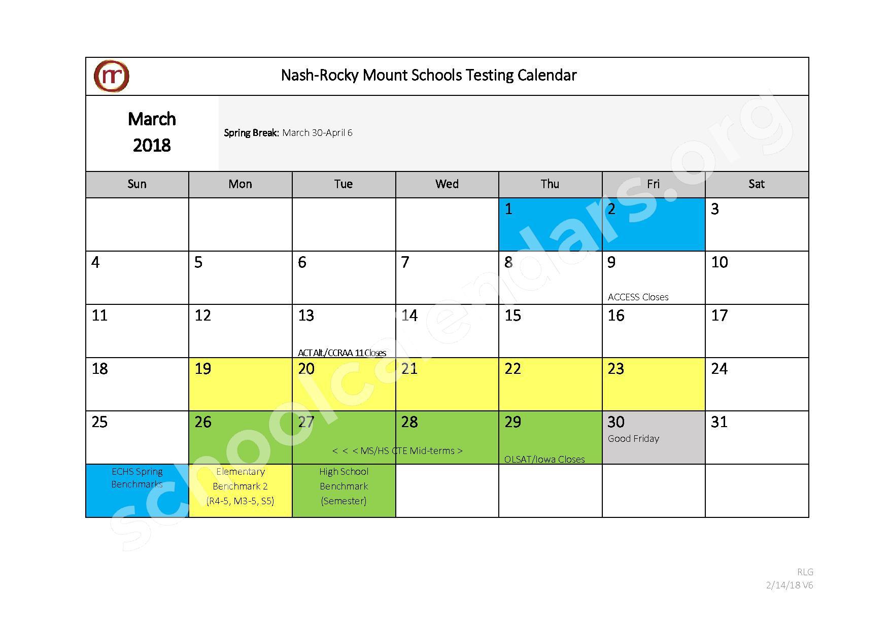 2017 - 2018 Testing Calendar – Nash-Rocky Mount Public Schools – page 8