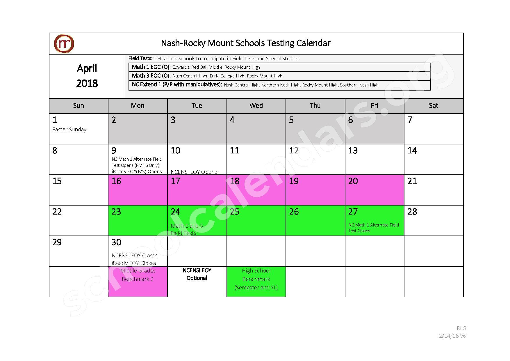 2017 - 2018 Testing Calendar – Nash-Rocky Mount Public Schools – page 9