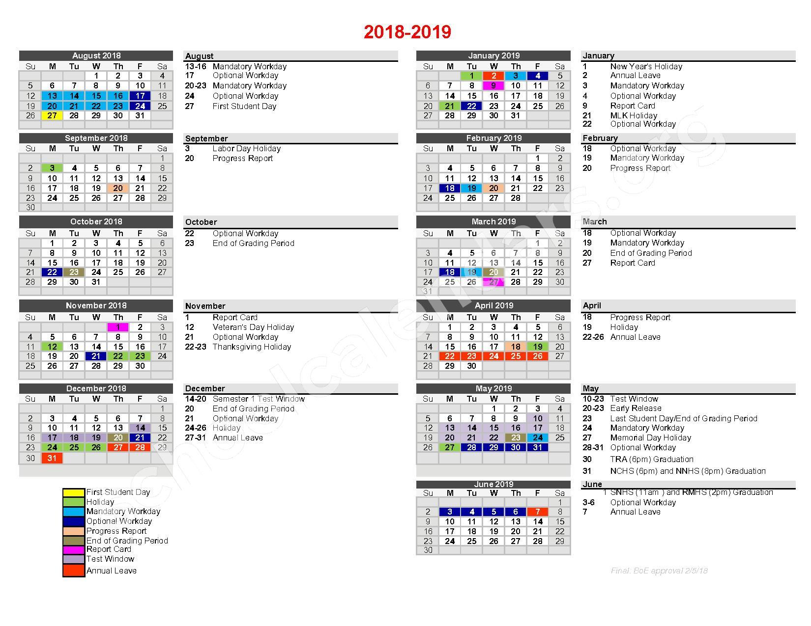 2018 - 2019 Traditional Calendar – Nash-Rocky Mount Public Schools – page 1