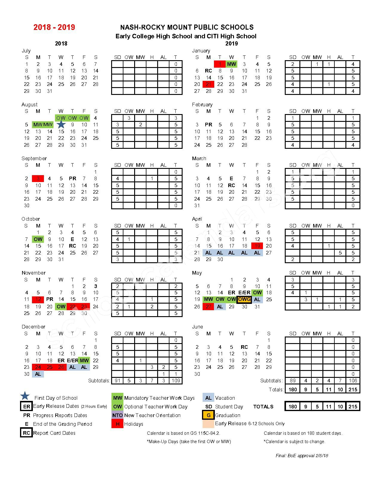 2018 - 2019 Early College and CITI High School Calendar – Southern Nash Middle School – page 1