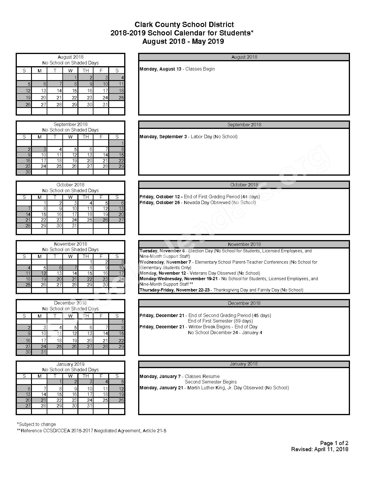 2018 - 2019 School Calendar for Students – Harley Harmon Elementary School – page 1