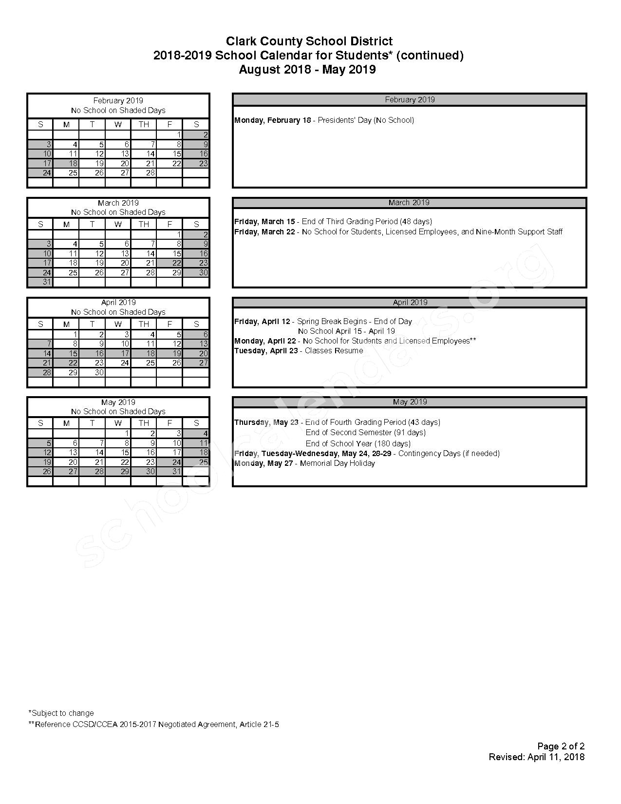 2018 - 2019 School Calendar for Students – Miley Achievement Center Elementary School – page 2