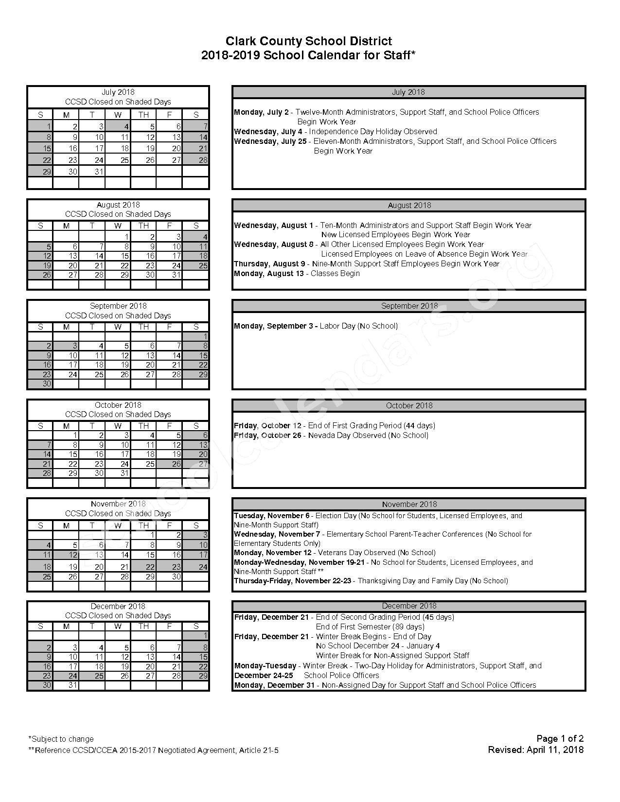 2018 - 2019 School Calendar for Staff – Clark County School District – page 1