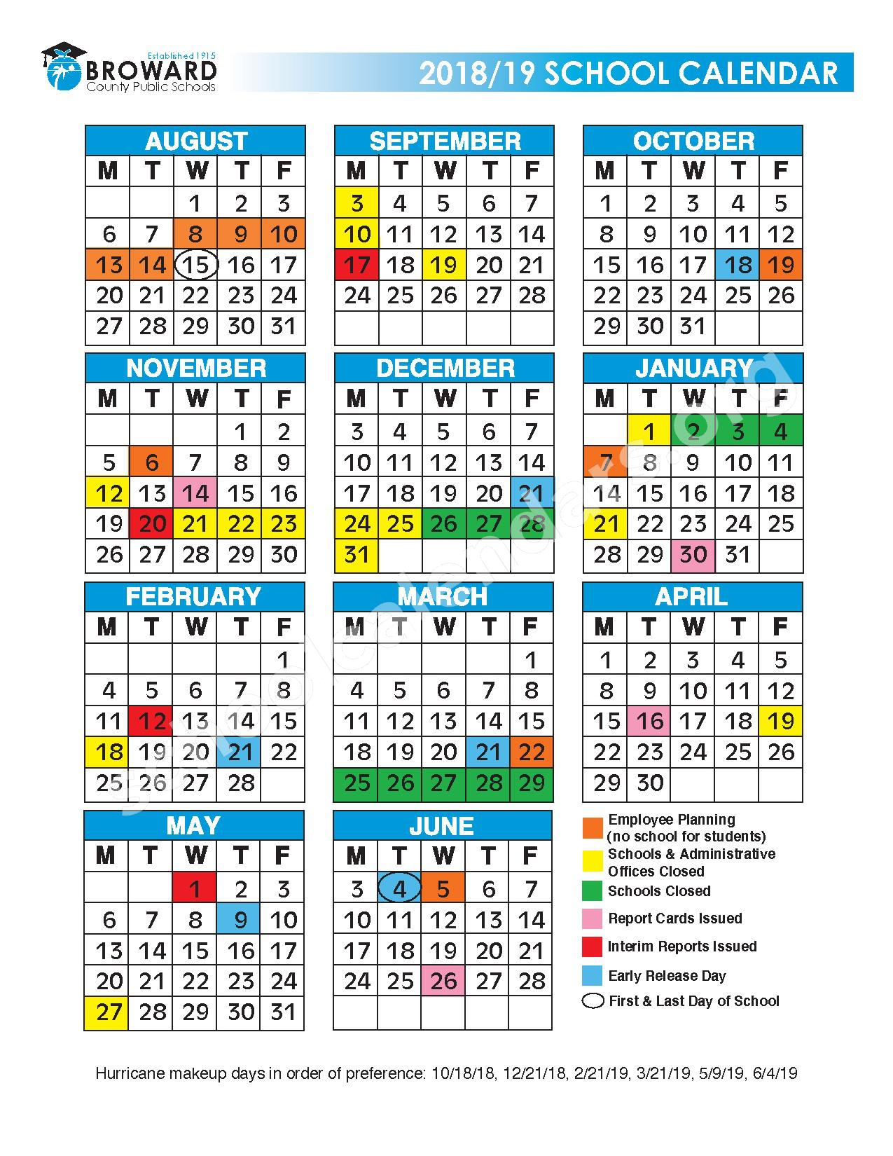 2018 - 2019 District Calendar – Heron Heights Elementary School – page 1