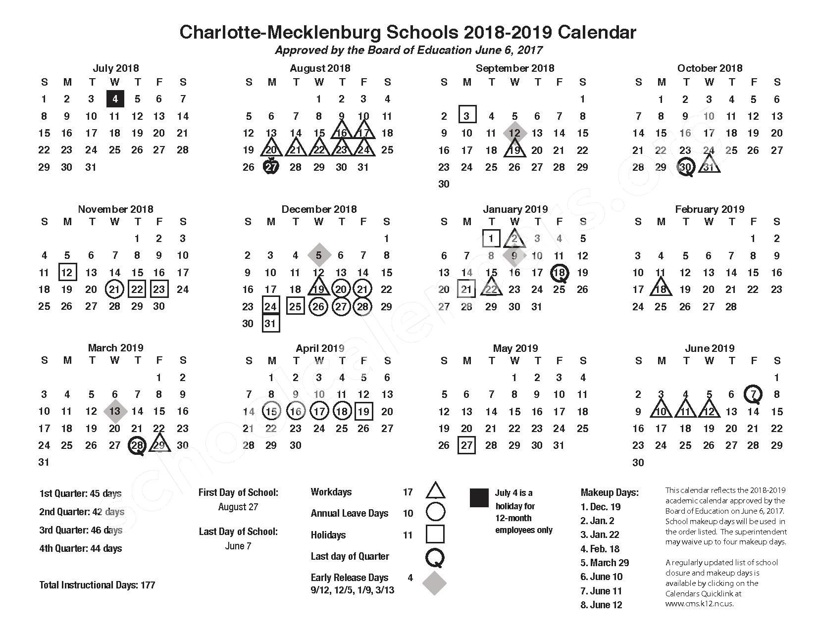 2018 - 2019 Academic Calendar – Southwest Middle School – page 1