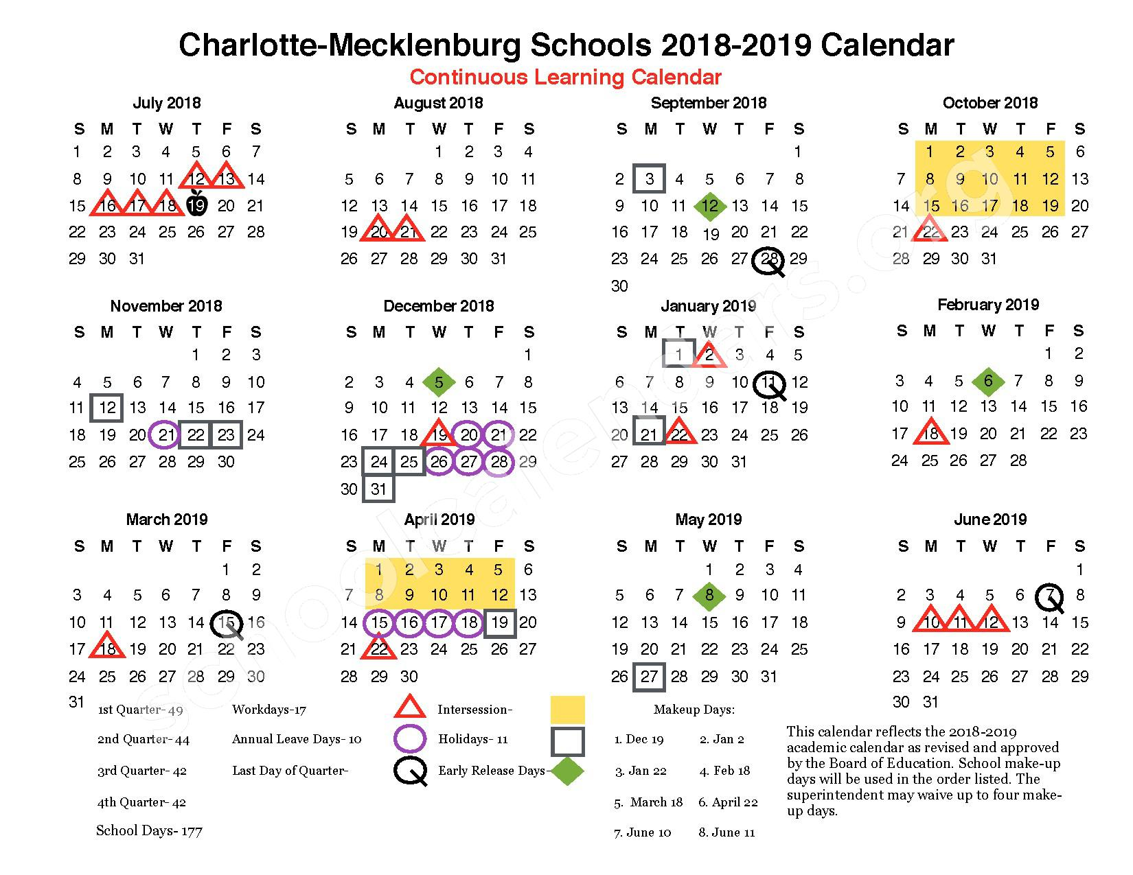 2018 - 2019 Continuous Learning Calendar – Ashley Park Elementary School – page 1