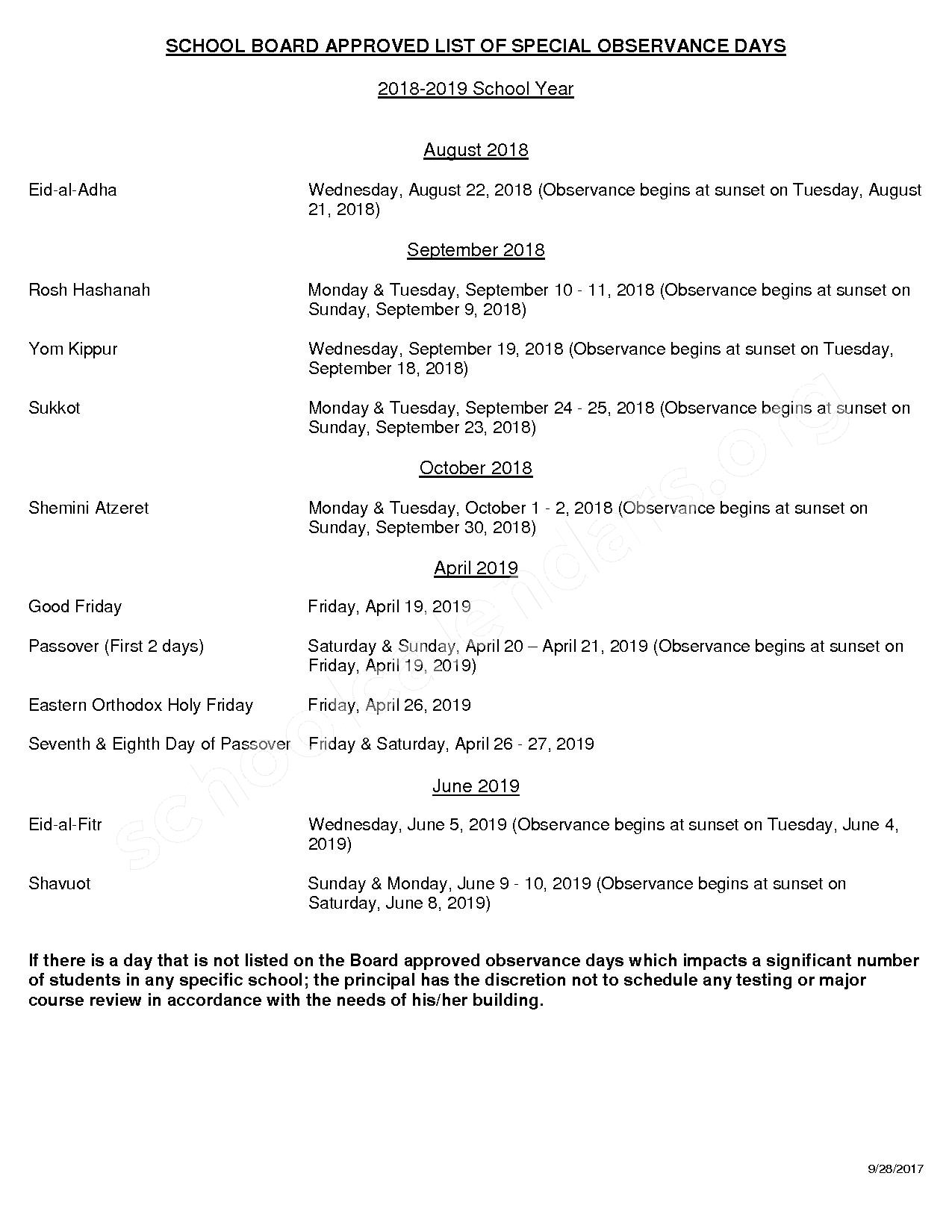 2018 - 2019 District Calendar – Pinellas County School District – page 5
