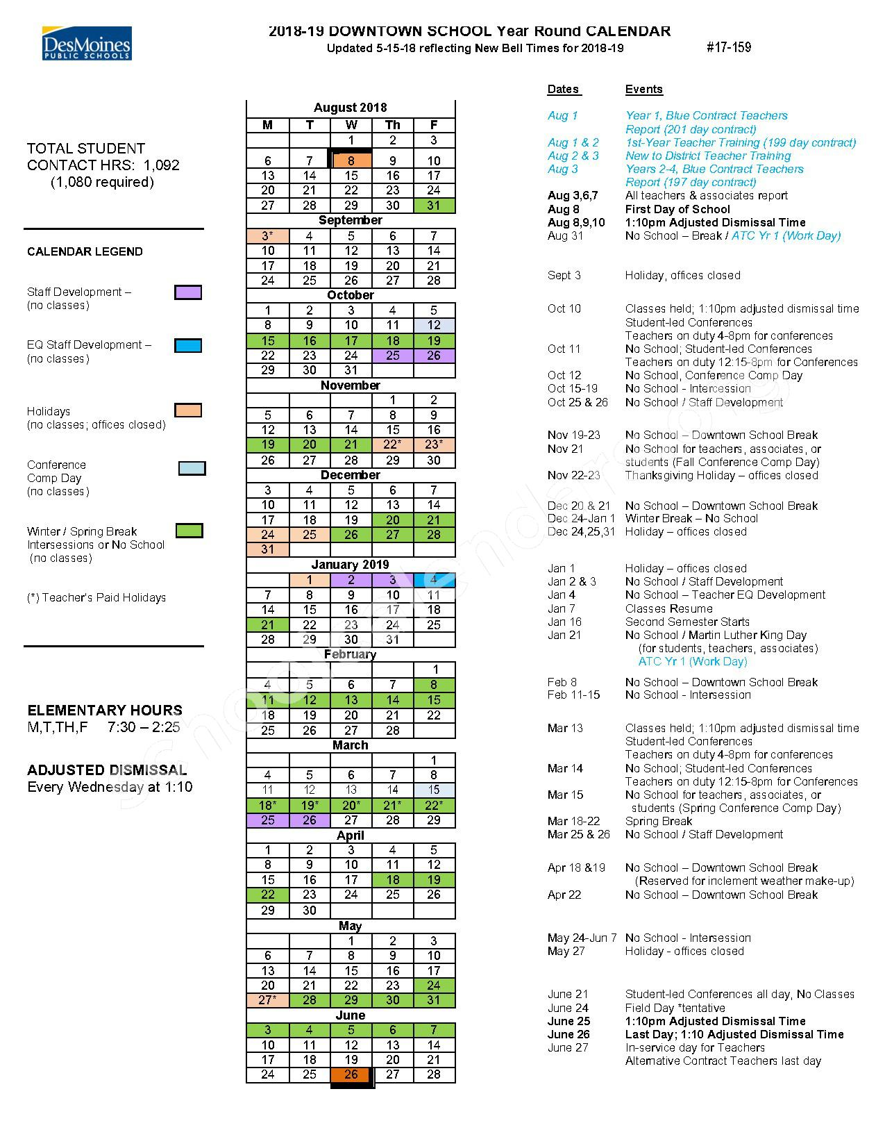 2018 - 2019 Downtown School Year-Round Calendar – Des Moines Independent Community School District – page 1