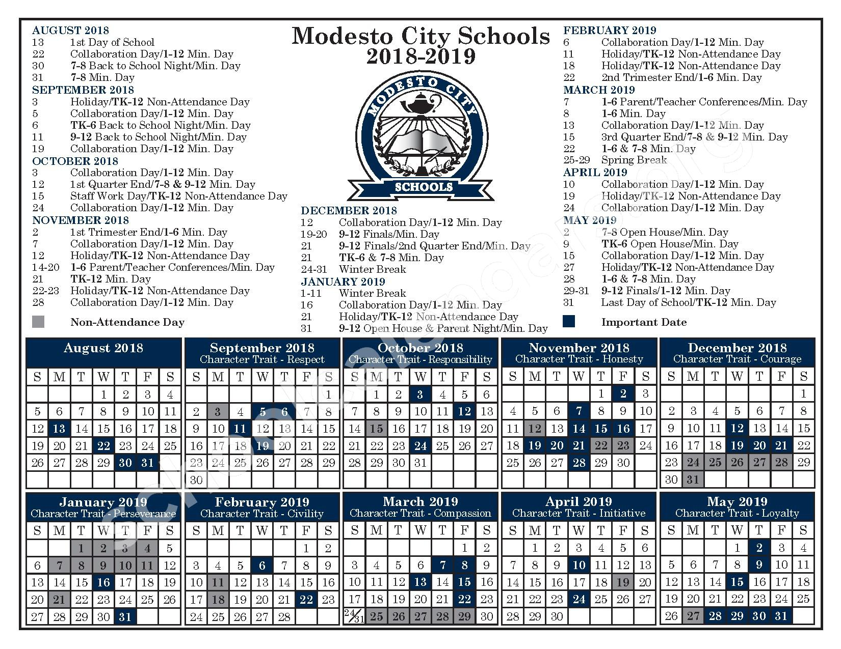 2018 - 2019 District Calendar – Modesto City Schools – page 1