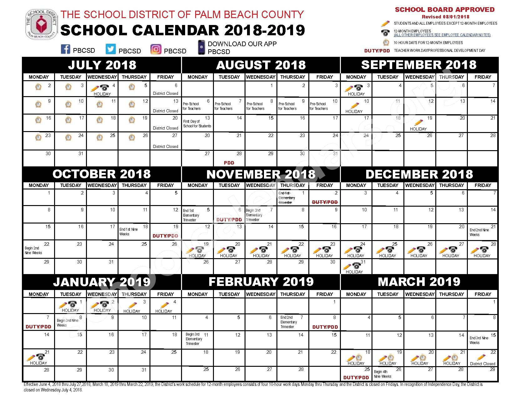 2018 - 2019 District Calendar – Secondary, Adult and Community Education – page 1