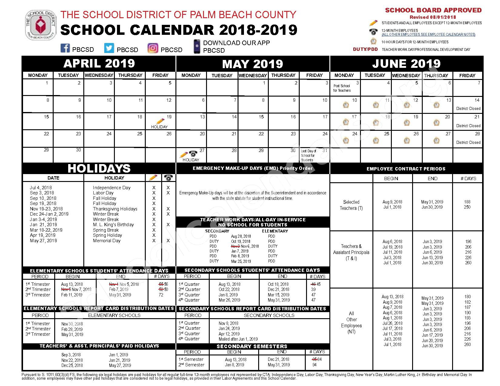 2018 - 2019 District Calendar – Benoist Farms Elementary School – page 2