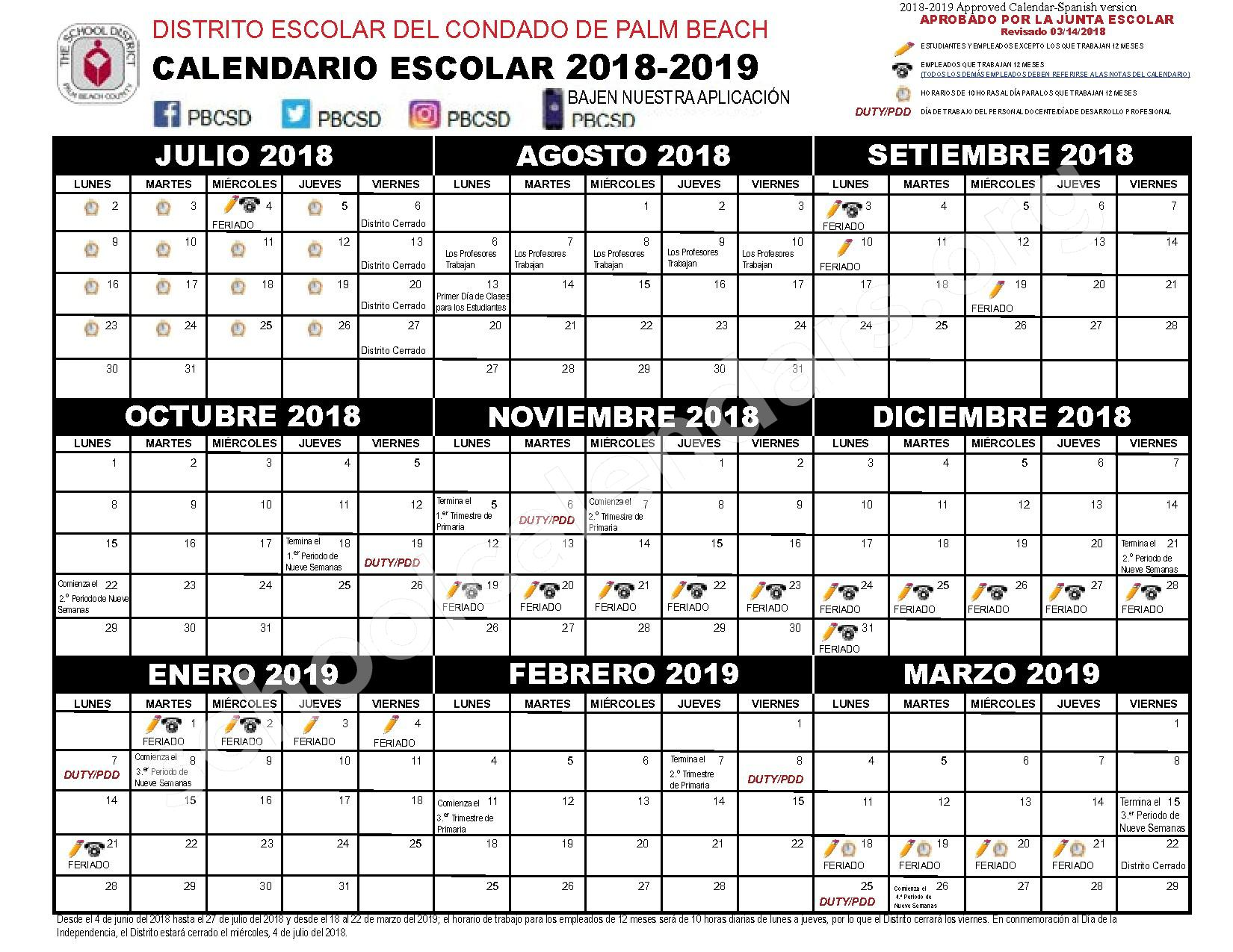 2018 - 2019 Calendario Escolar – Secondary, Adult and Community Education – page 1