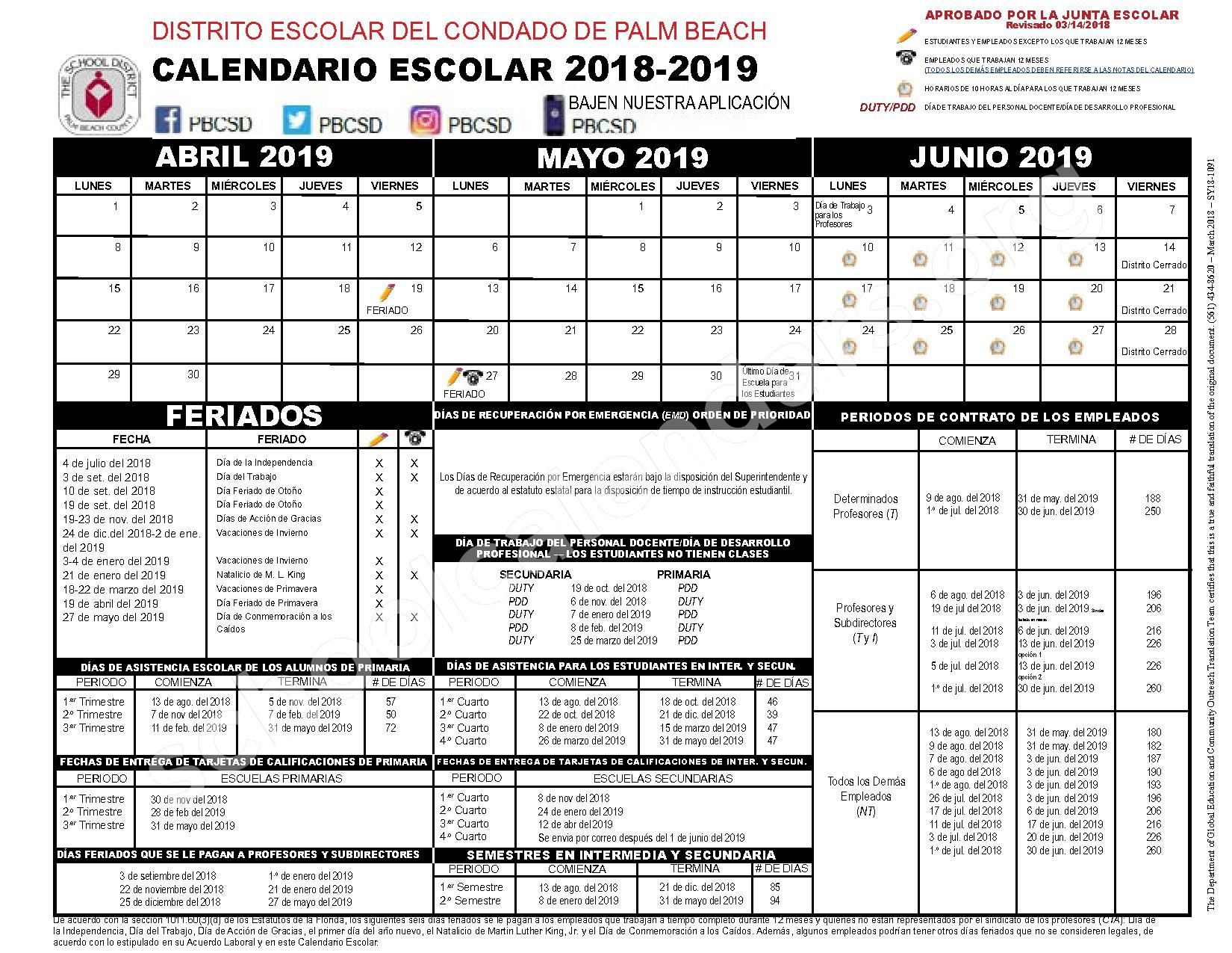 2018 - 2019 Calendario Escolar – Secondary, Adult and Community Education – page 2