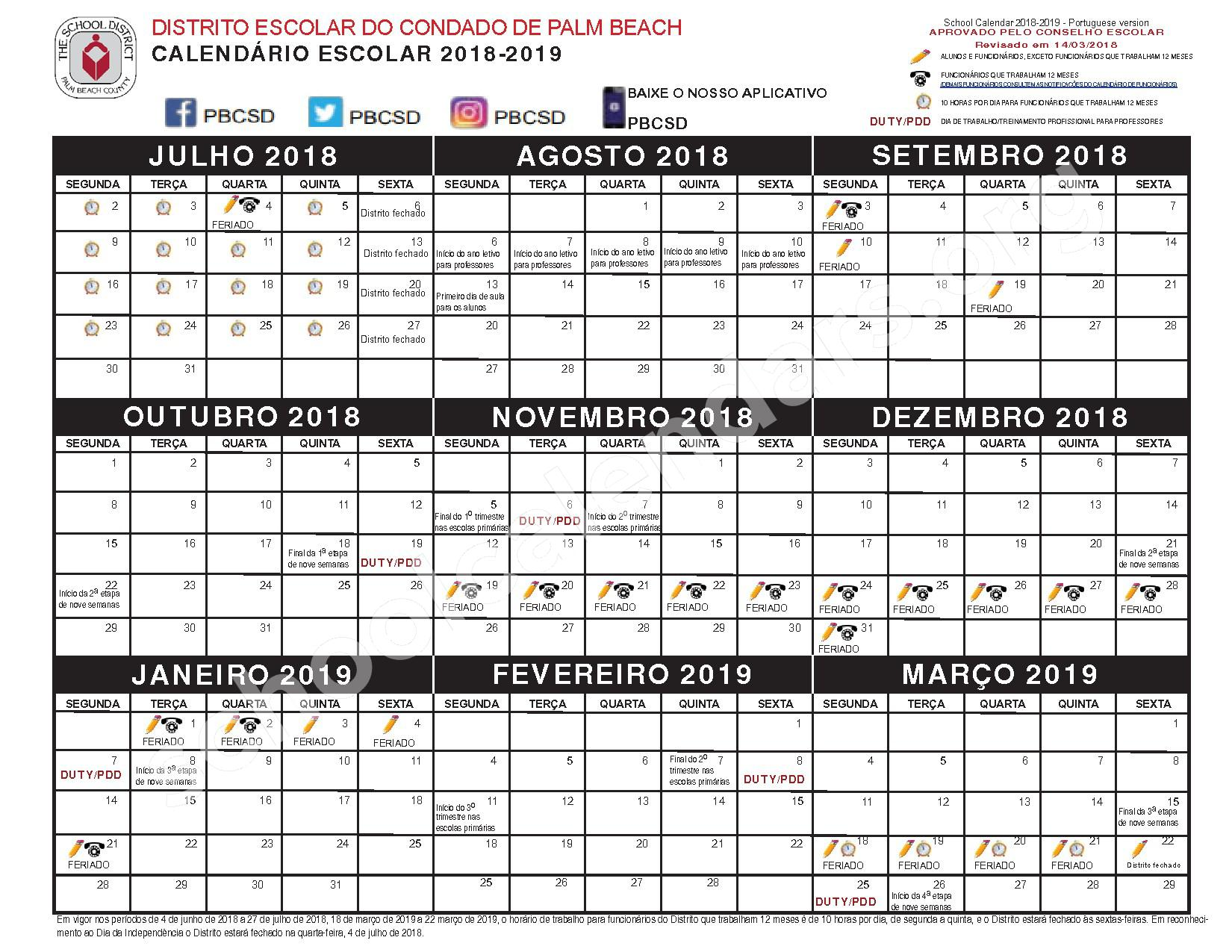 2018 - 2019 CALENDÁRIO ESCOLAR – Palm Beach County School District – page 1